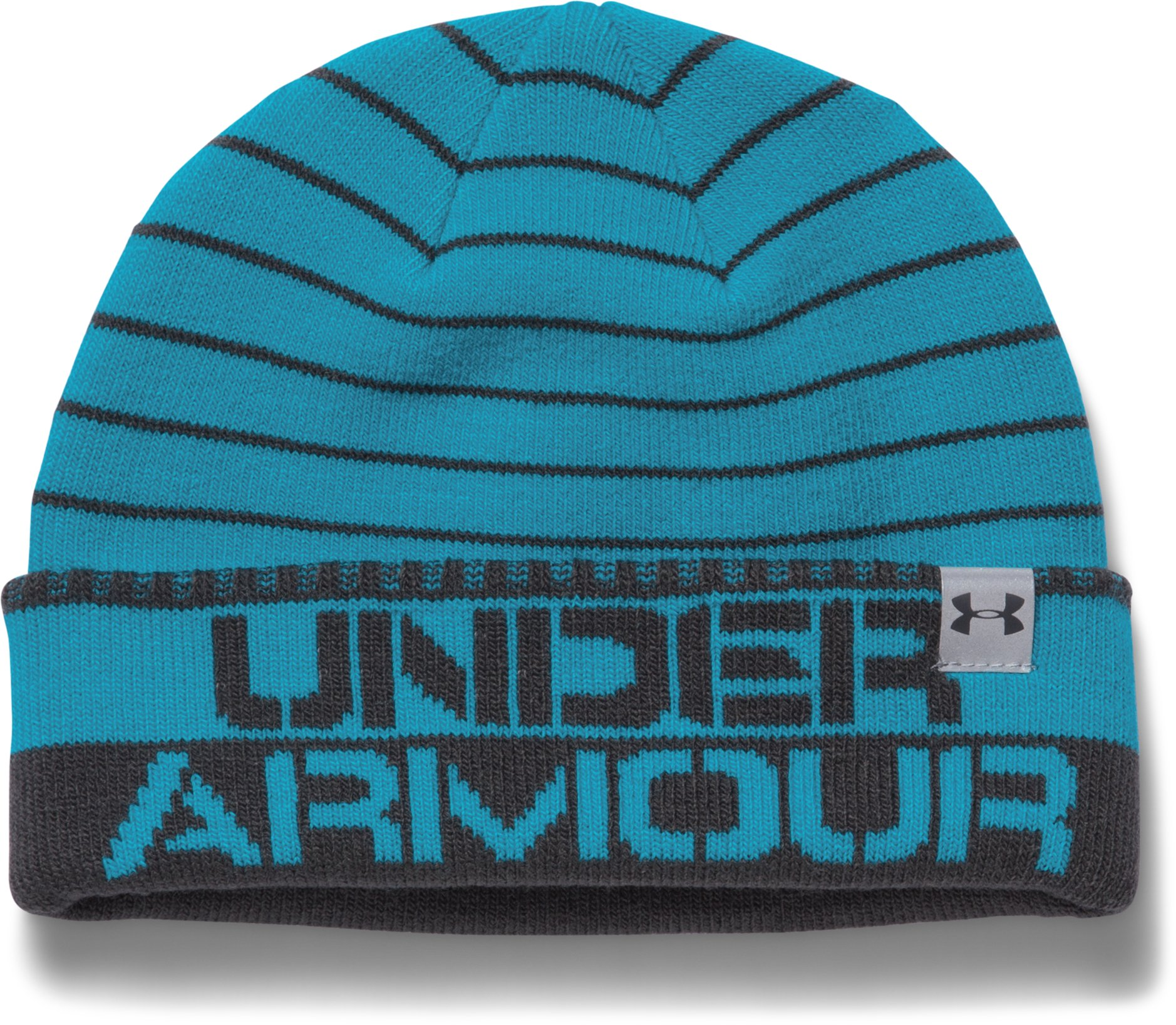 Boys' UA Cuff Stripe Beanie, Pacific, zoomed image