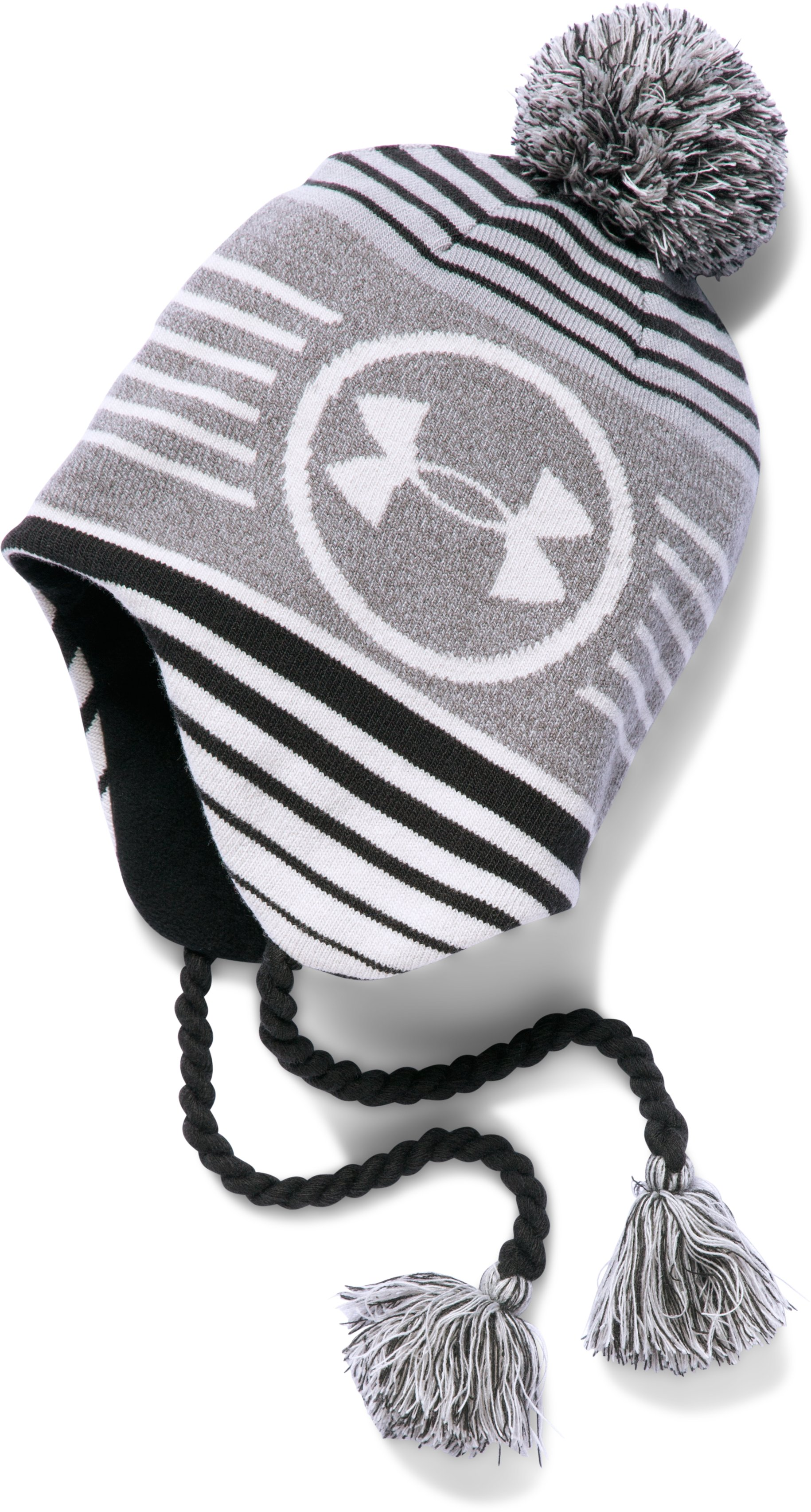 Boys' UA Tassel Beanie, True Gray Heather, undefined