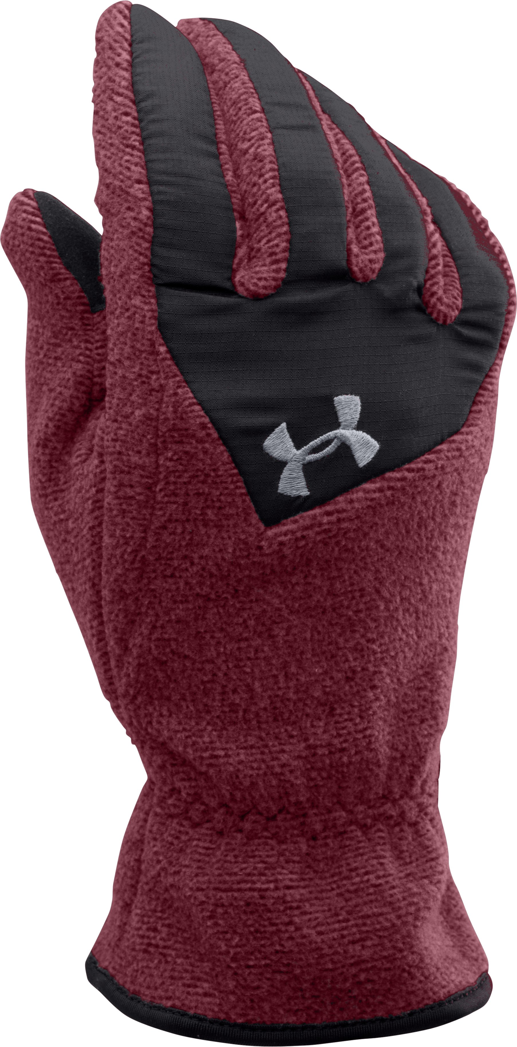 Men's UA ColdGear® Infrared Fleece Gloves, DEEP RED, zoomed image