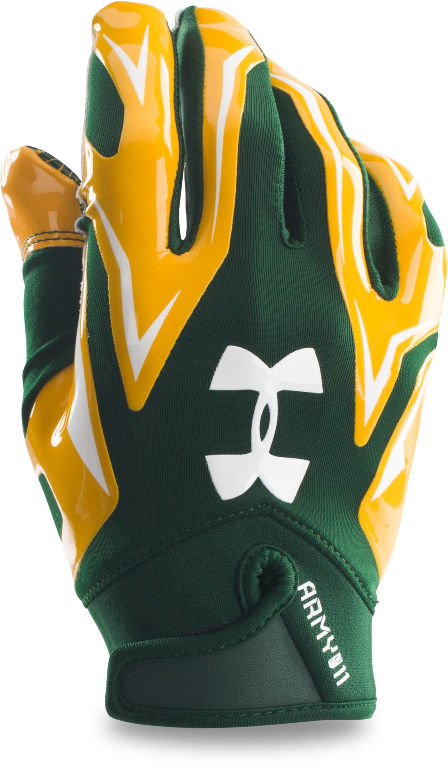 Men's UA Army of 11 F4 Football Gloves, Forest Green, zoomed image