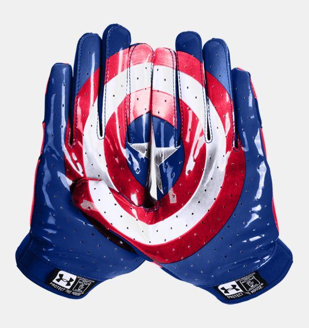 5b721e44431 Men's Under Armour® Alter Ego Captain America F4 Football Gloves ...