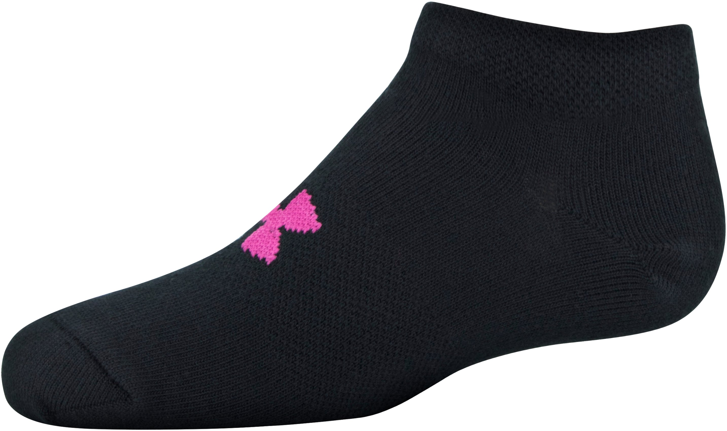 Girls' UA Big Logo No Show Socks 6-Pack, Black , undefined