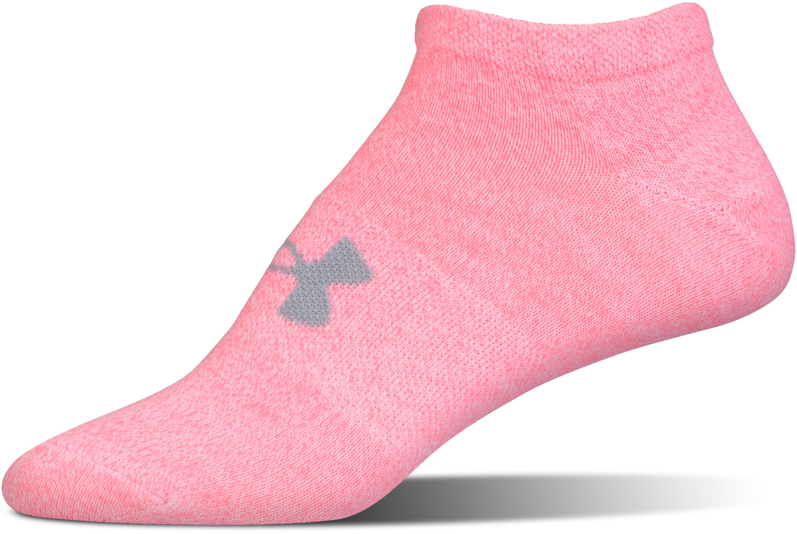 Girls' UA Big Logo No Show Socks 6-Pack, True Gray Heather,