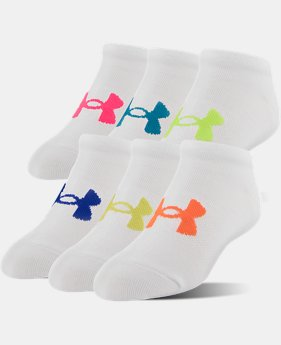 PRO PICK Girls' UA Big Logo No Show Socks 6-Pack  2 Colors $19