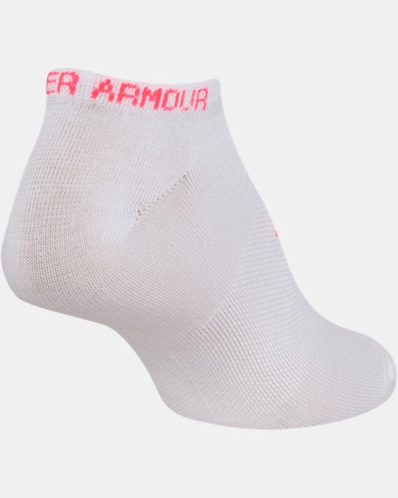 Girls' UA Big Logo No Show Socks 6-Pack, White, pdpMainDesktop image number 8