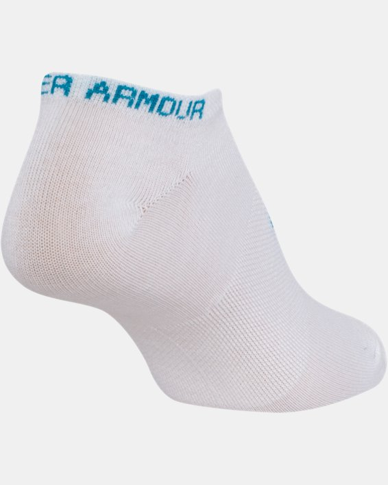 Girls' UA Big Logo No Show Socks 6-Pack, White, pdpMainDesktop image number 9