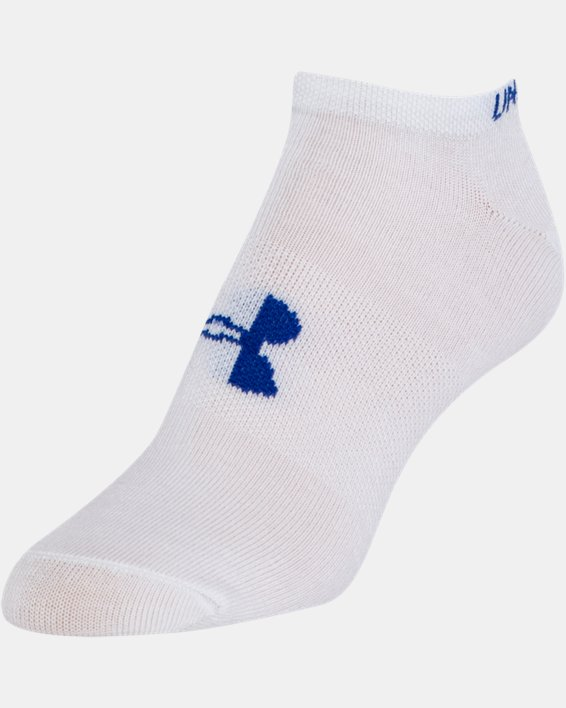 Girls' UA Big Logo No Show Socks 6-Pack, White, pdpMainDesktop image number 5