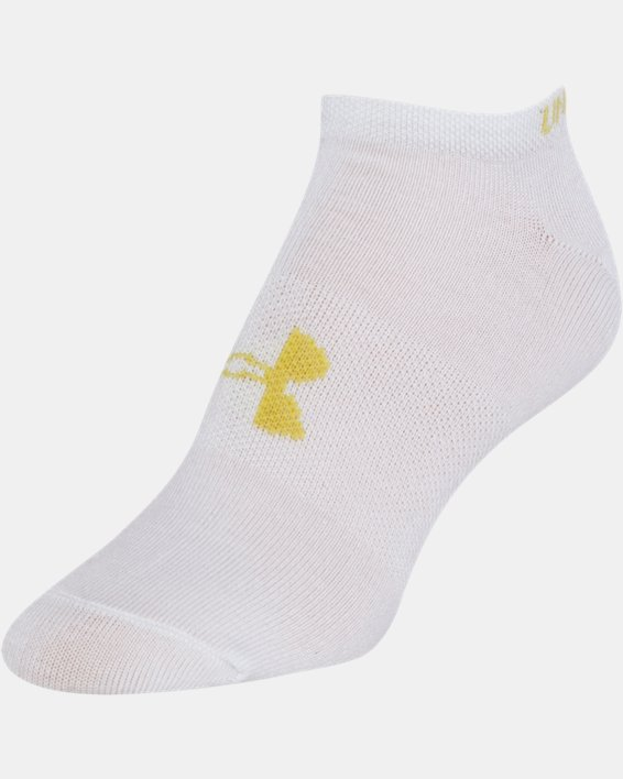 Girls' UA Big Logo No Show Socks 6-Pack, White, pdpMainDesktop image number 6