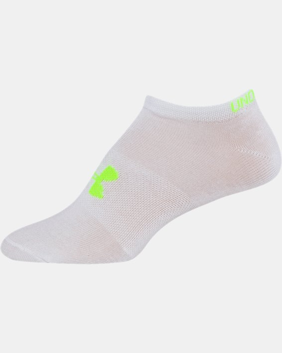 Girls' UA Big Logo No Show Socks 6-Pack, White, pdpMainDesktop image number 16