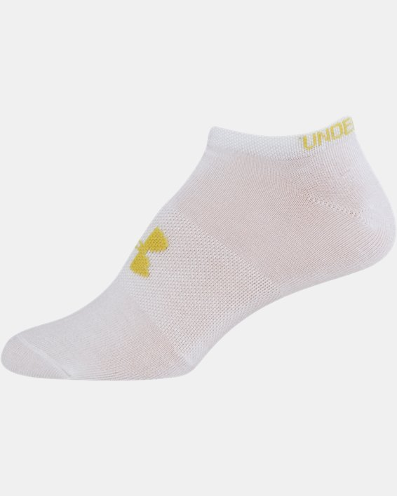 Girls' UA Big Logo No Show Socks 6-Pack, White, pdpMainDesktop image number 18