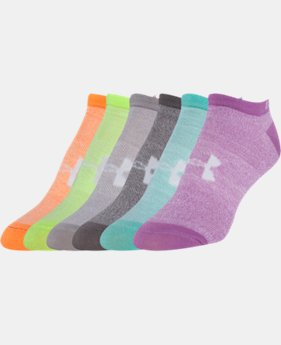 Girls' UA Big Logo No-Show Socks 6-Pack