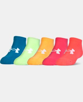 PRO PICK Girls' UA Big Logo No Show Socks 6-Pack   $19