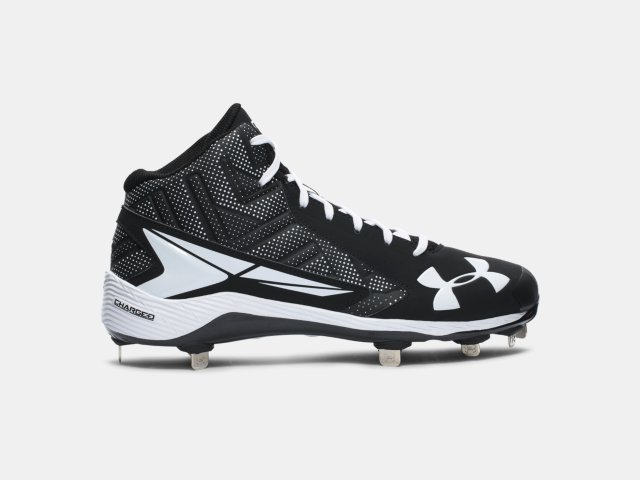 new arrivals Under Armour Yard Mid St Men Round Toe Synthetic Black Cleats Mens Black Under Armour Mens Sneakers