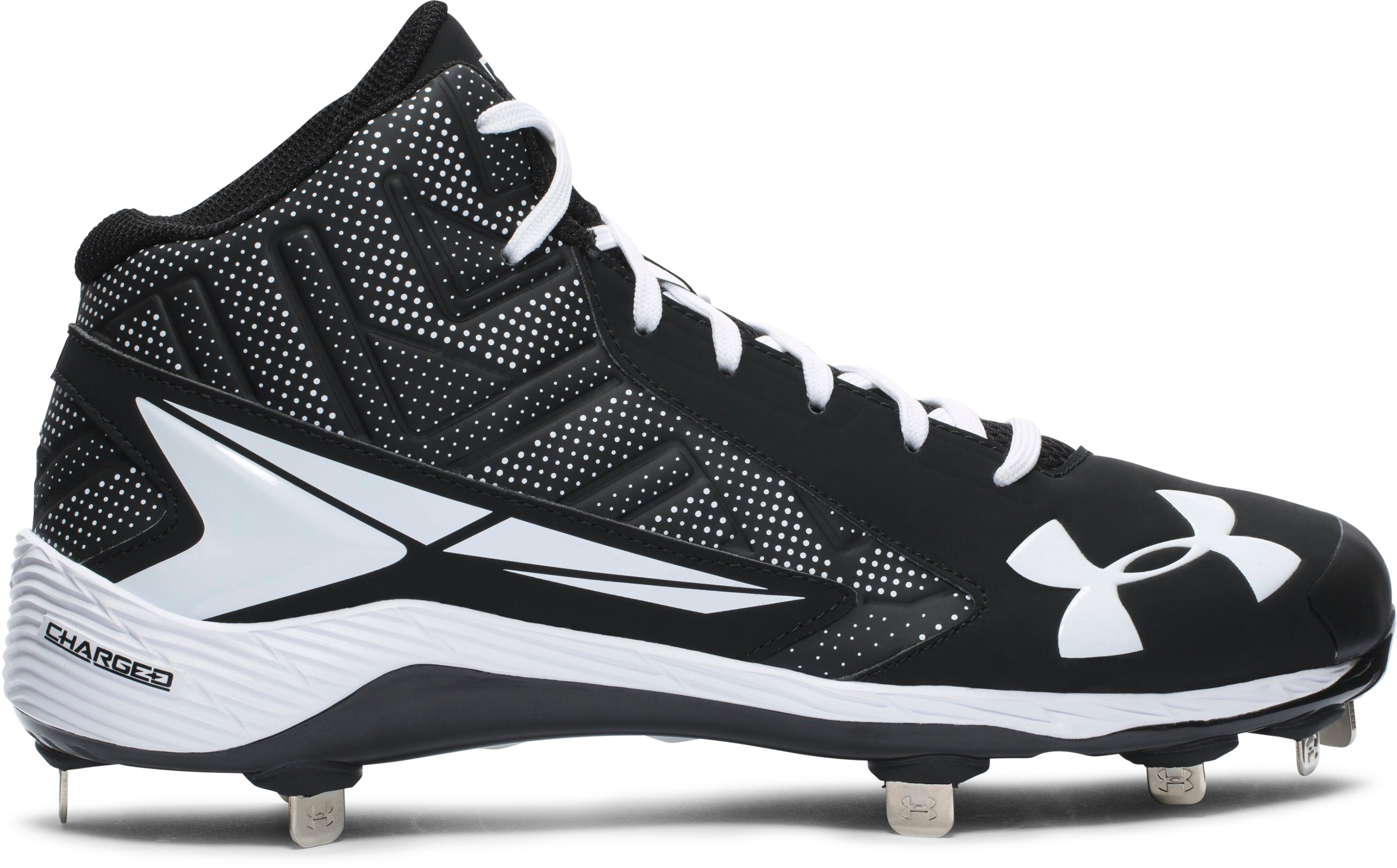 Men's UA Yard Mid ST Baseball Cleats, Black , undefined
