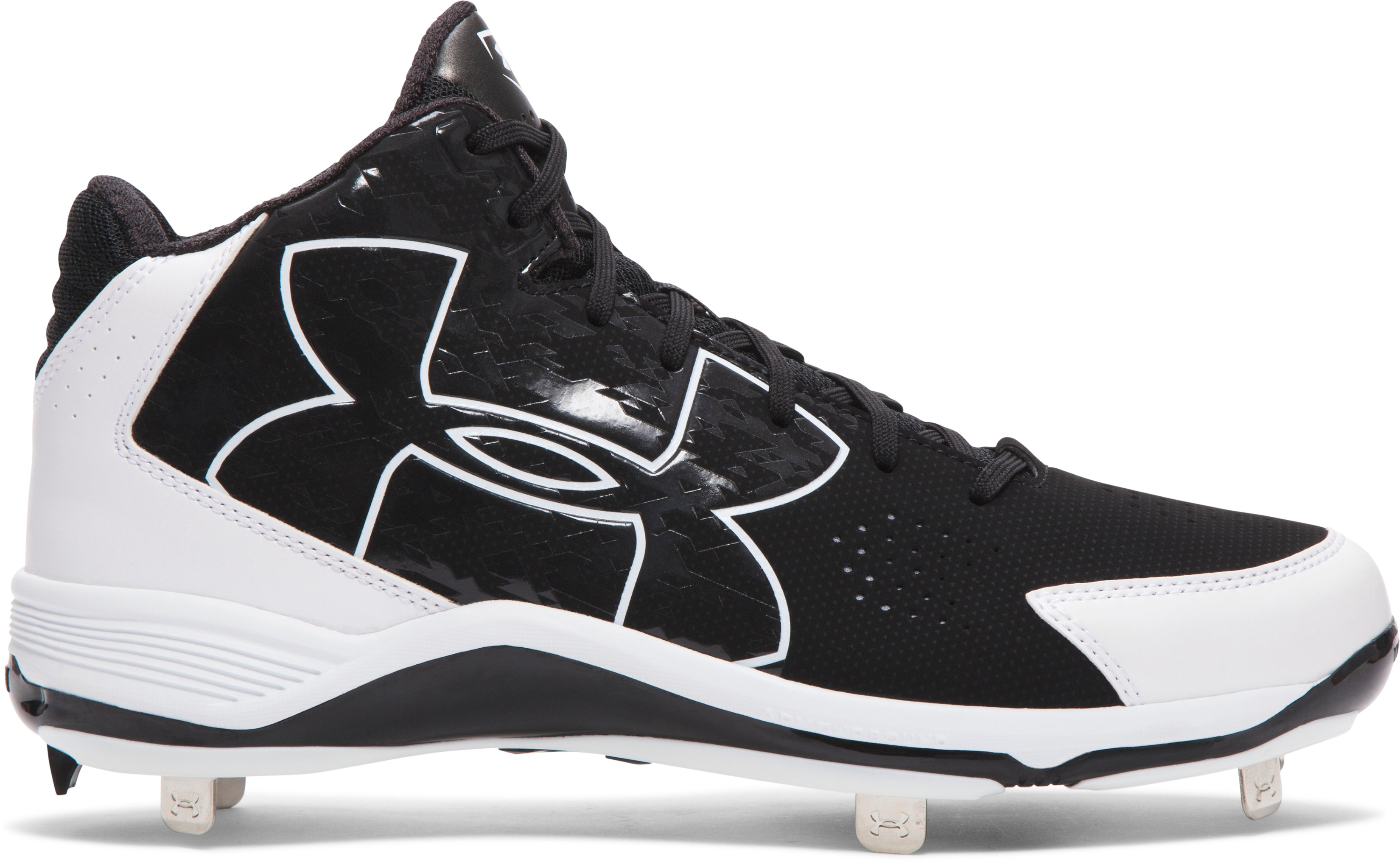 Men's UA Ignite Mid Baseball Cleats, Black ,