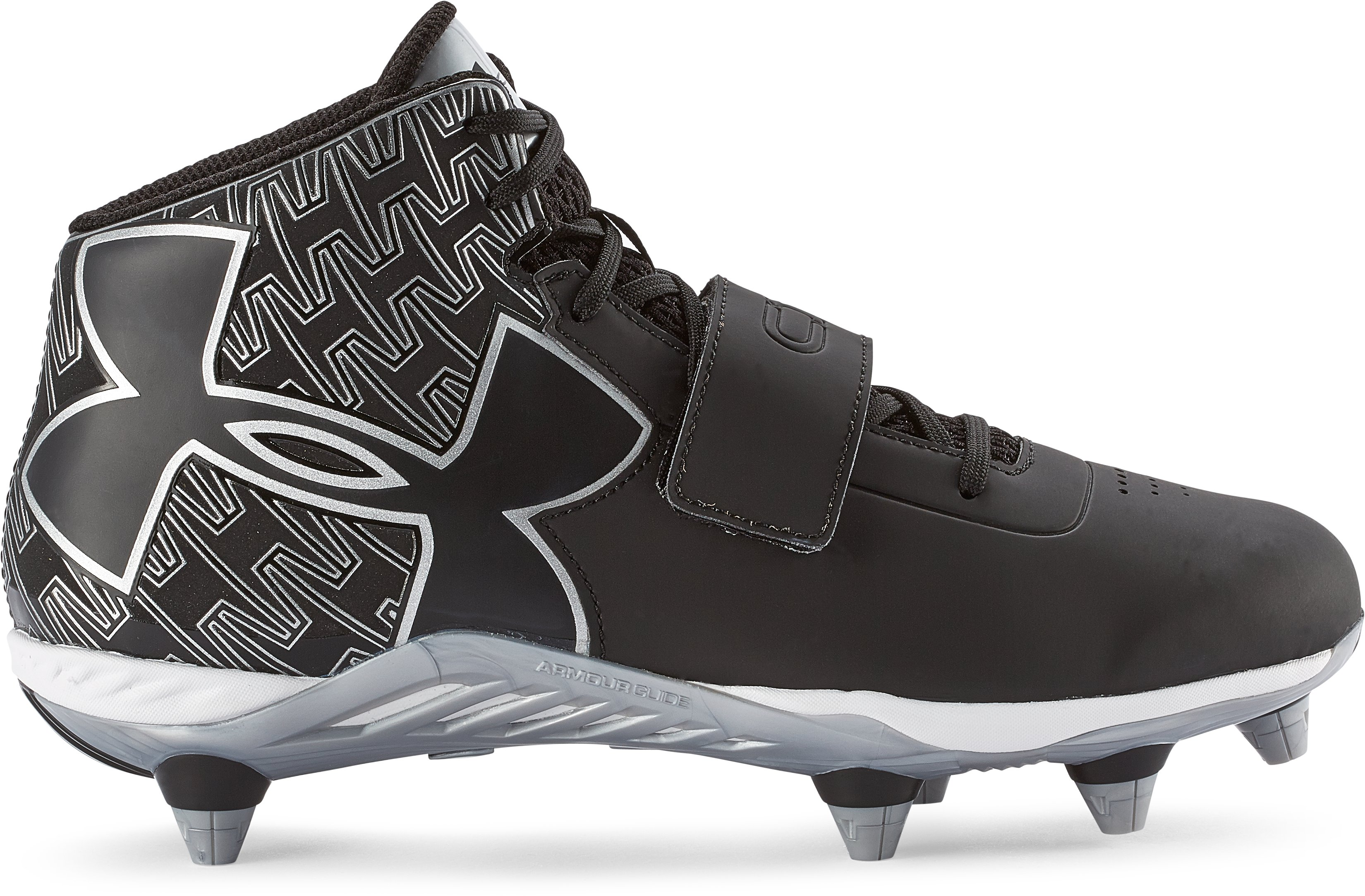 Men's UA C1N Mid Detachable Football Cleats, Black , zoomed image