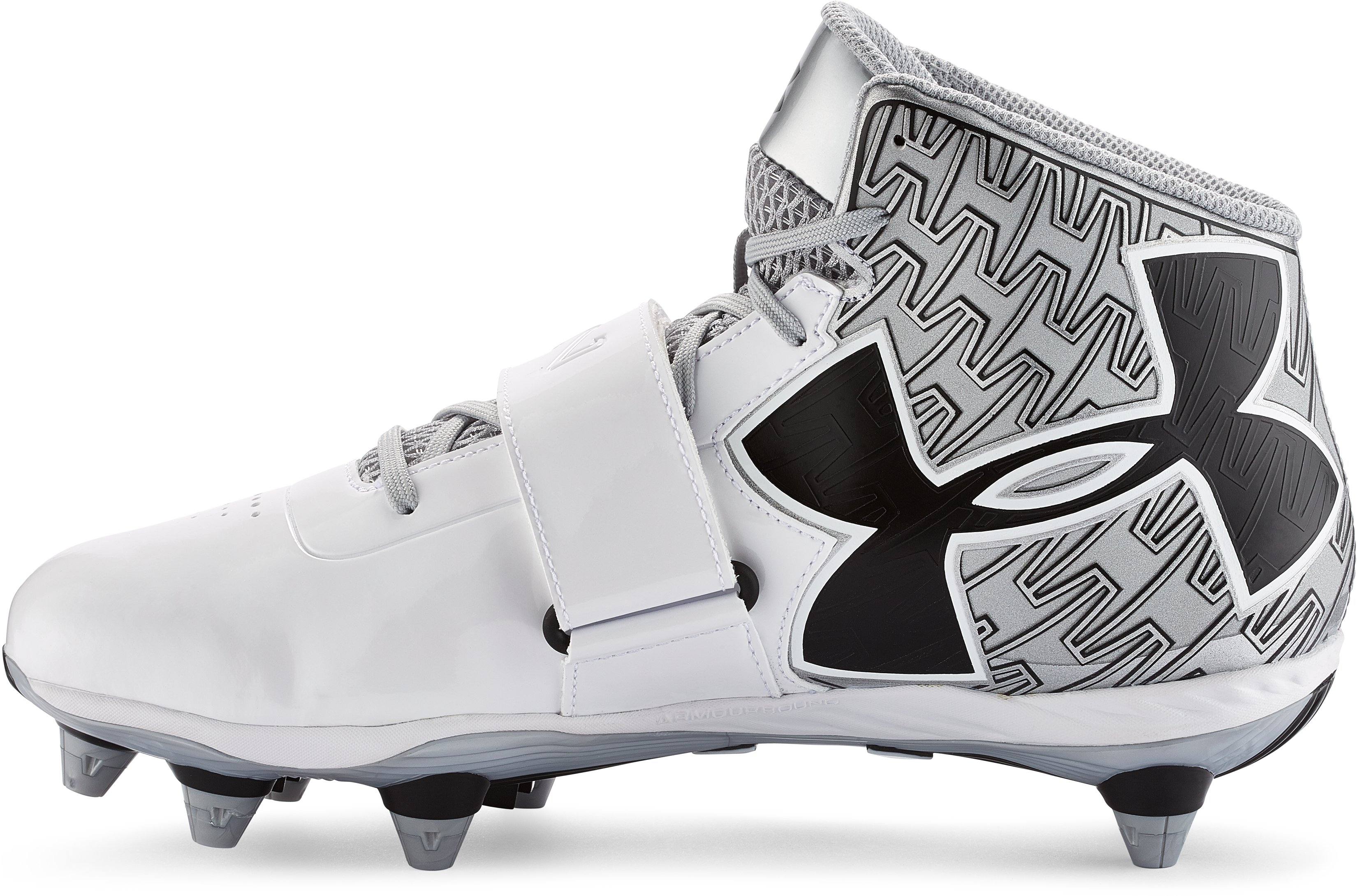 Men's UA C1N Mid Detachable Football Cleats, White, undefined