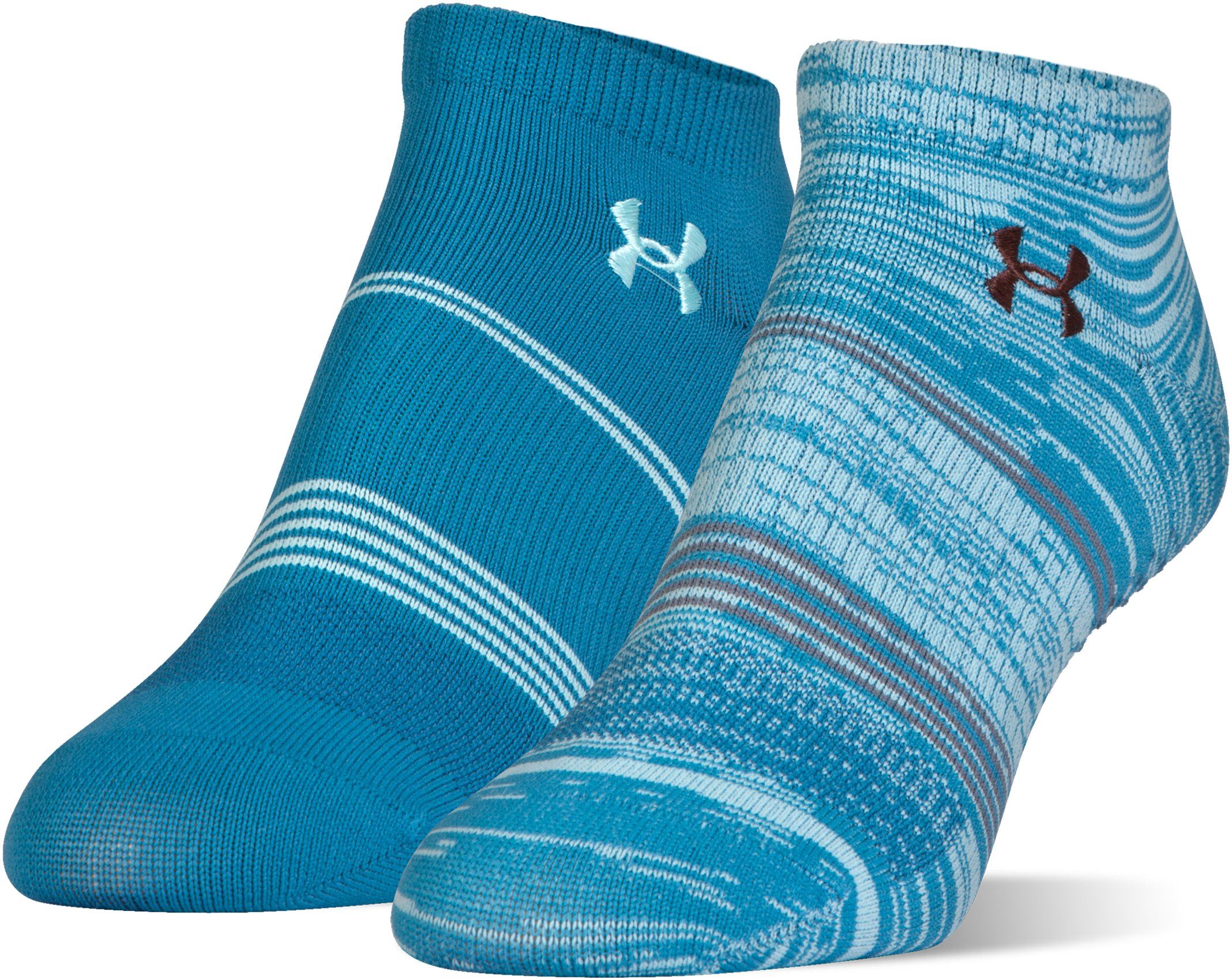 Women's UA Grippy III No Show Socks 2-Pack, BAYOU BLUE