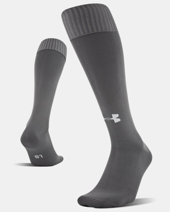 Chaussettes de foot UA Solid Over-The-Calf pour homme, Gray, pdpMainDesktop image number 3