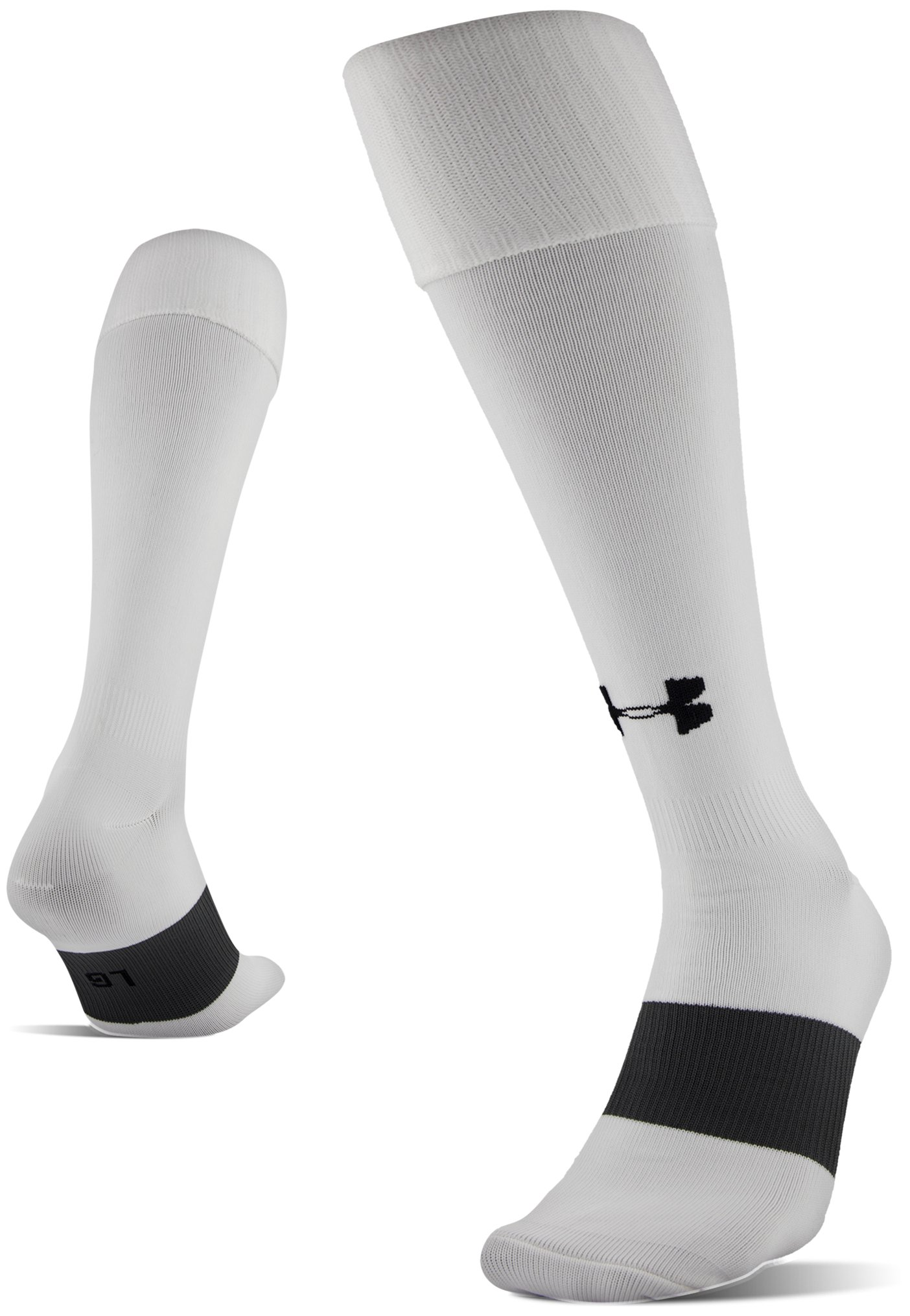 UA Soccer Solid Over-The-Calf Socks, White, undefined