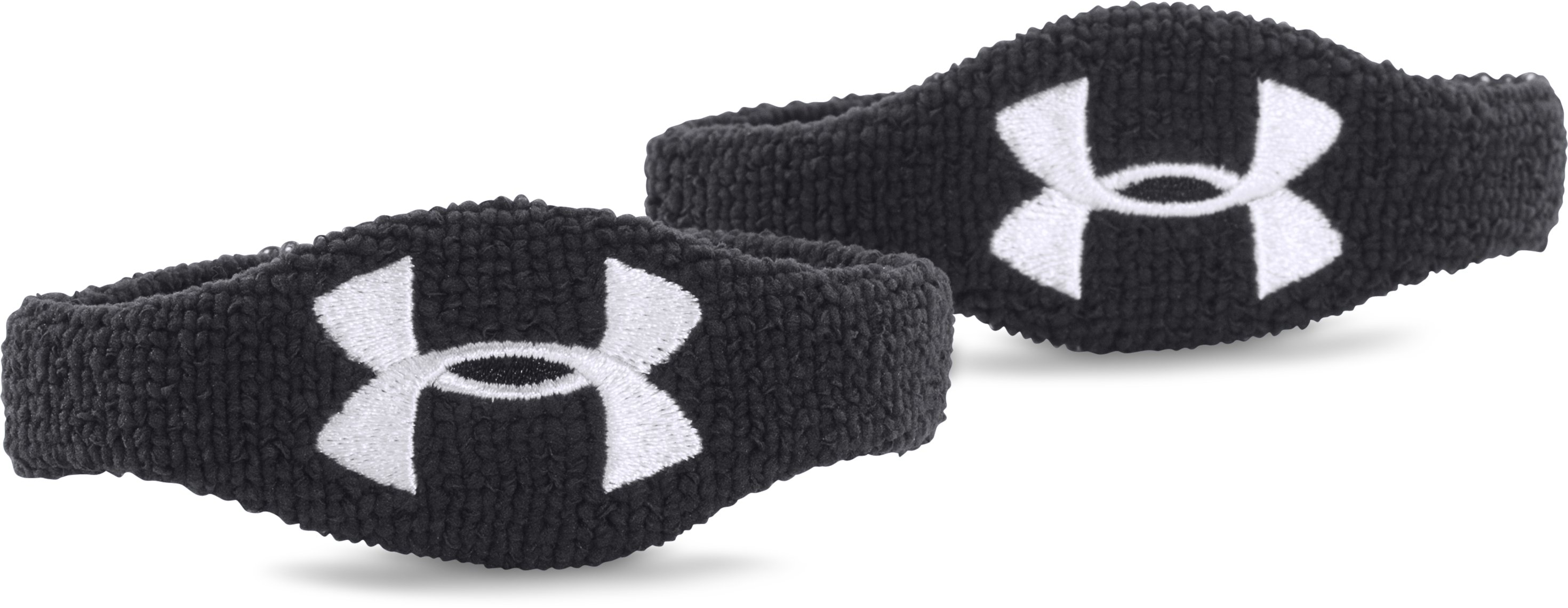 "UA 1/2"" Oversized Performance Wristband 2-Pack, Black , zoomed image"