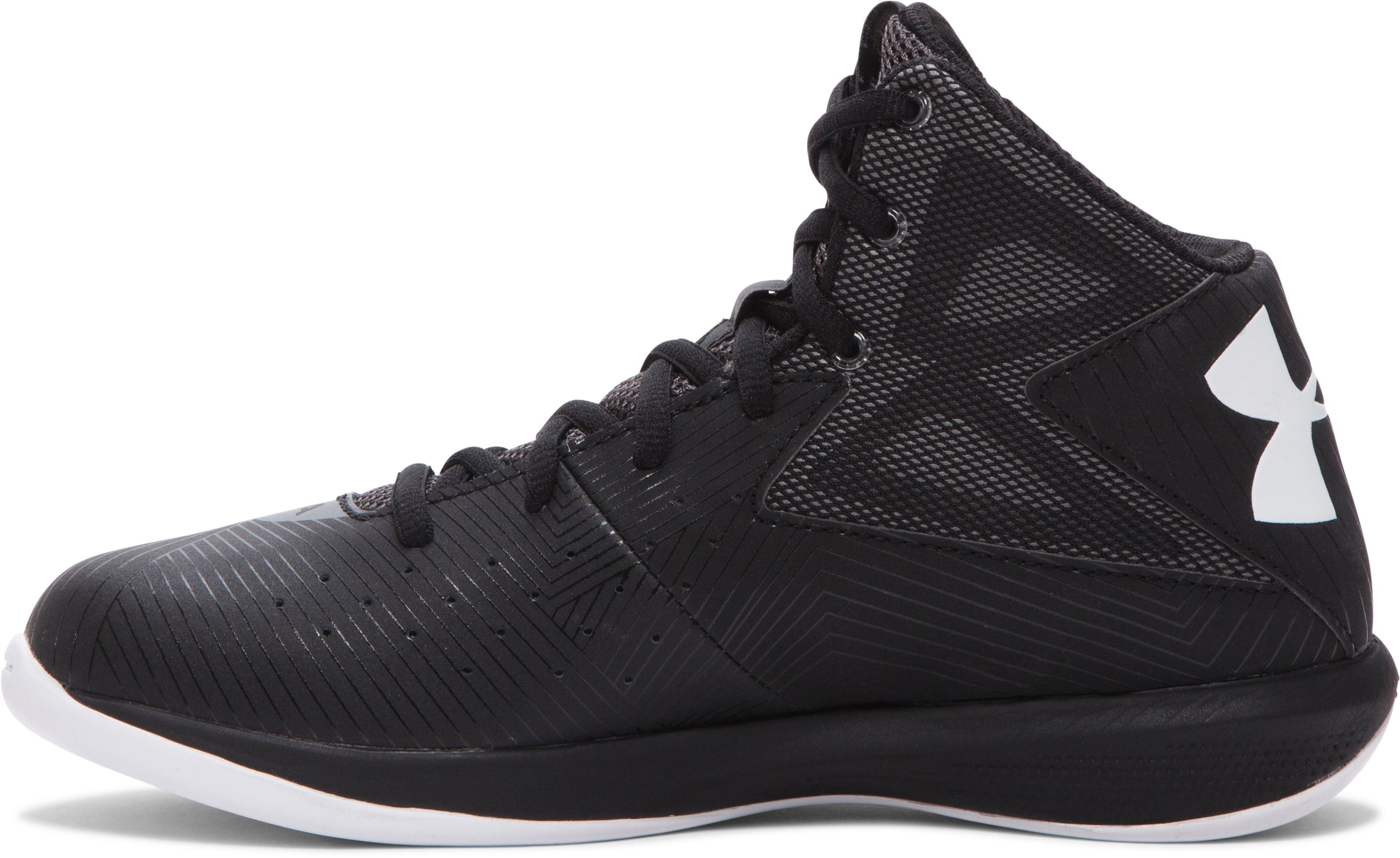 Boys' Grade School UA Rocket Basketball Shoes, Black , undefined