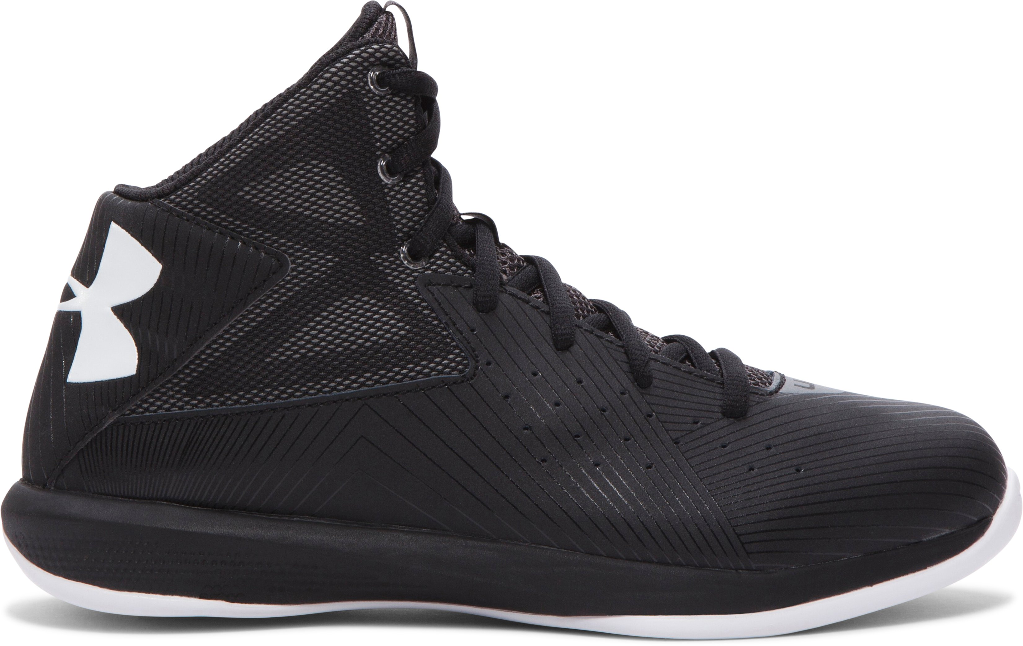 Boys' Grade School UA Rocket Basketball Shoes, Black ,
