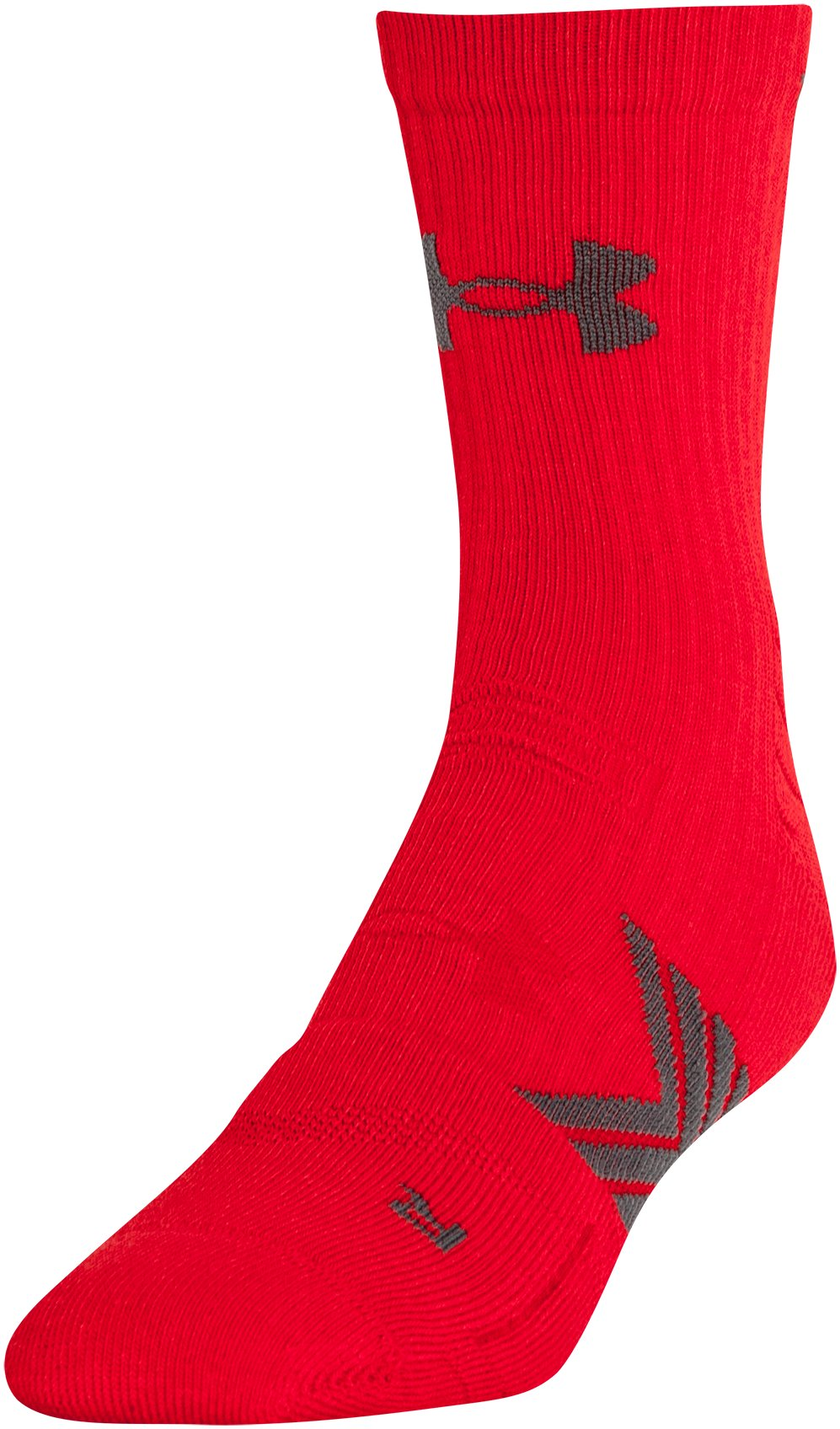 Men's UA Undeniable Mid Crew Socks, Red, zoomed image