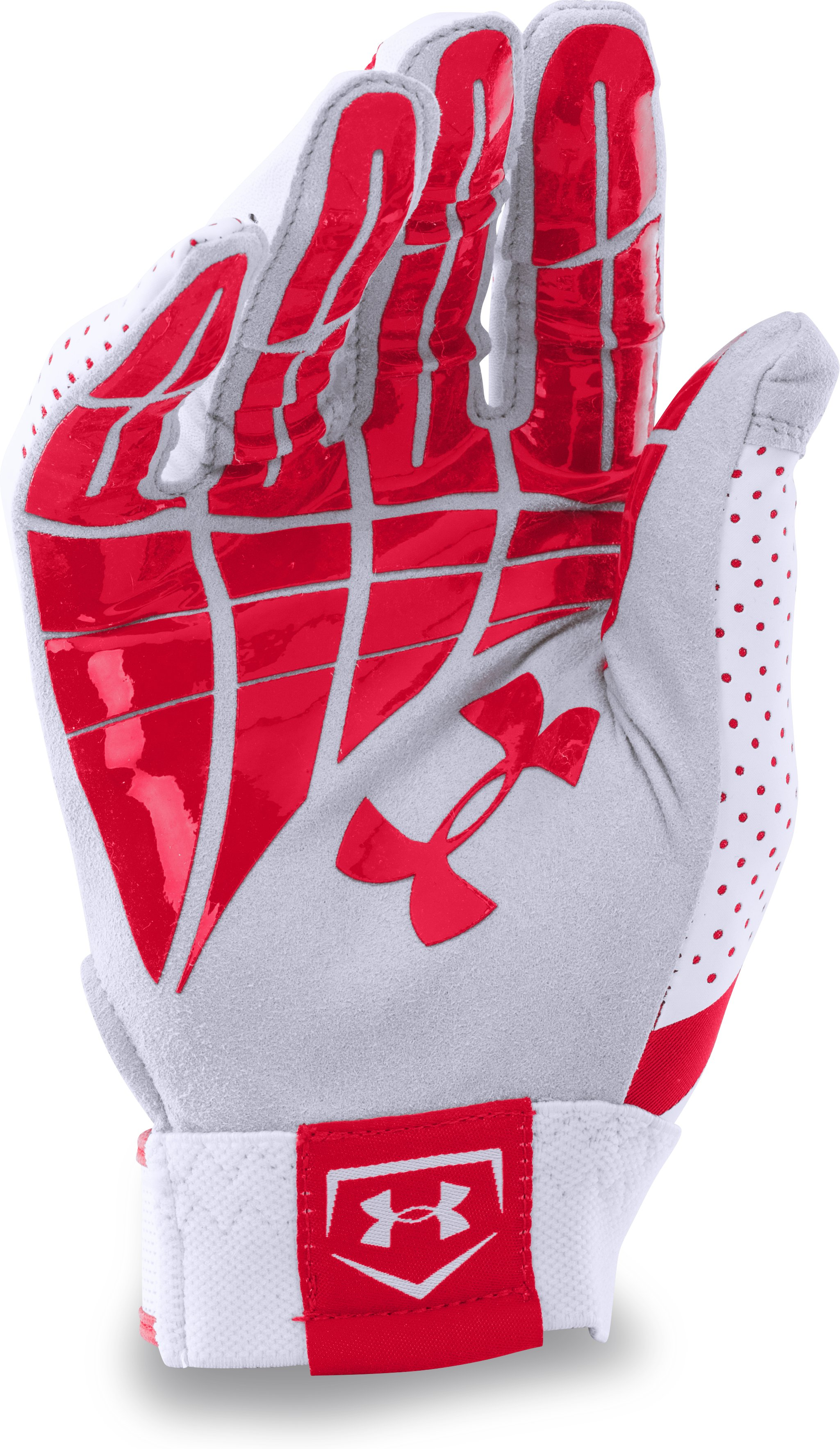 Women's UA Motive Fastpitch Batting Gloves, Red, undefined
