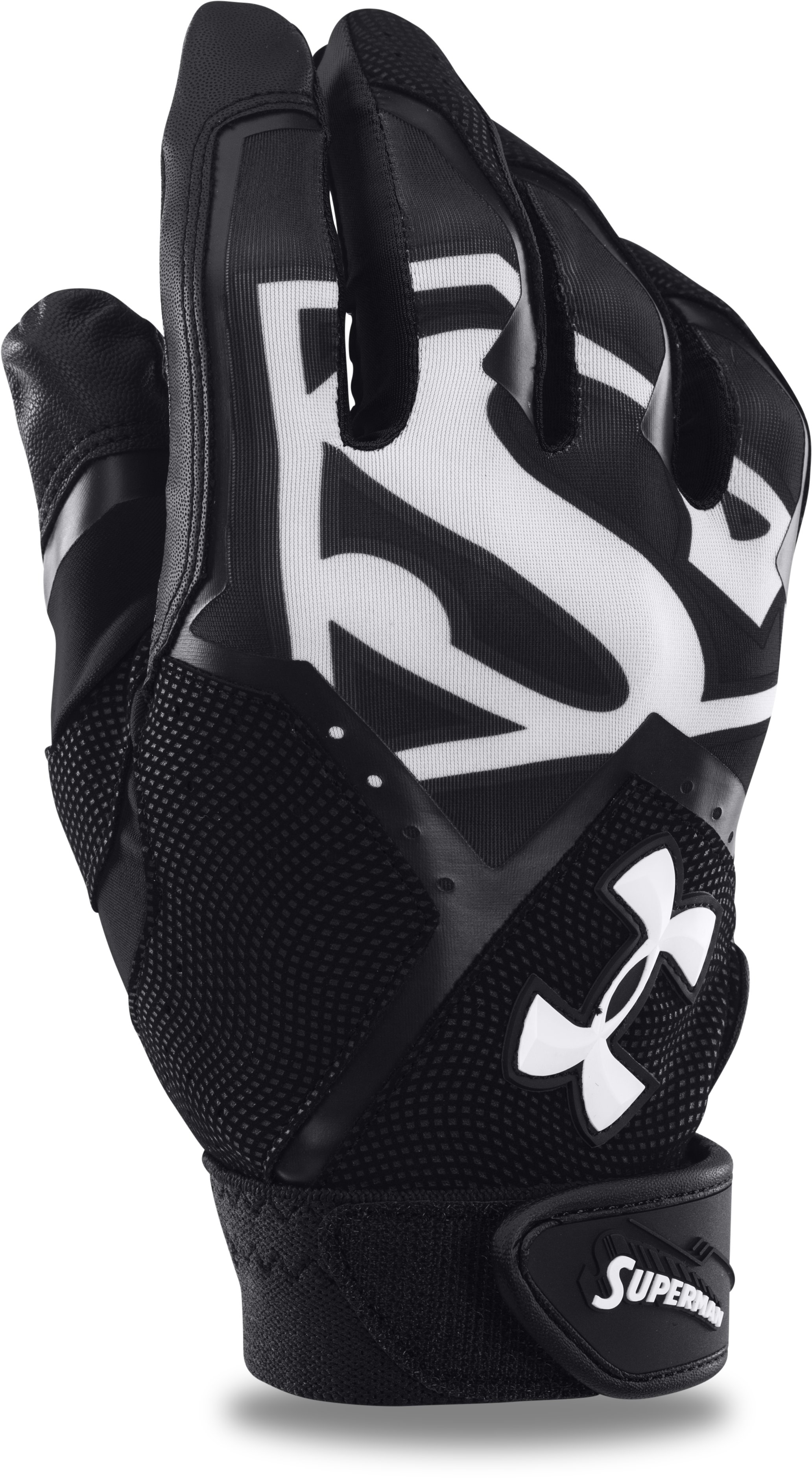 Men's UA Superman Clean-Up Batting Gloves, Black , zoomed image