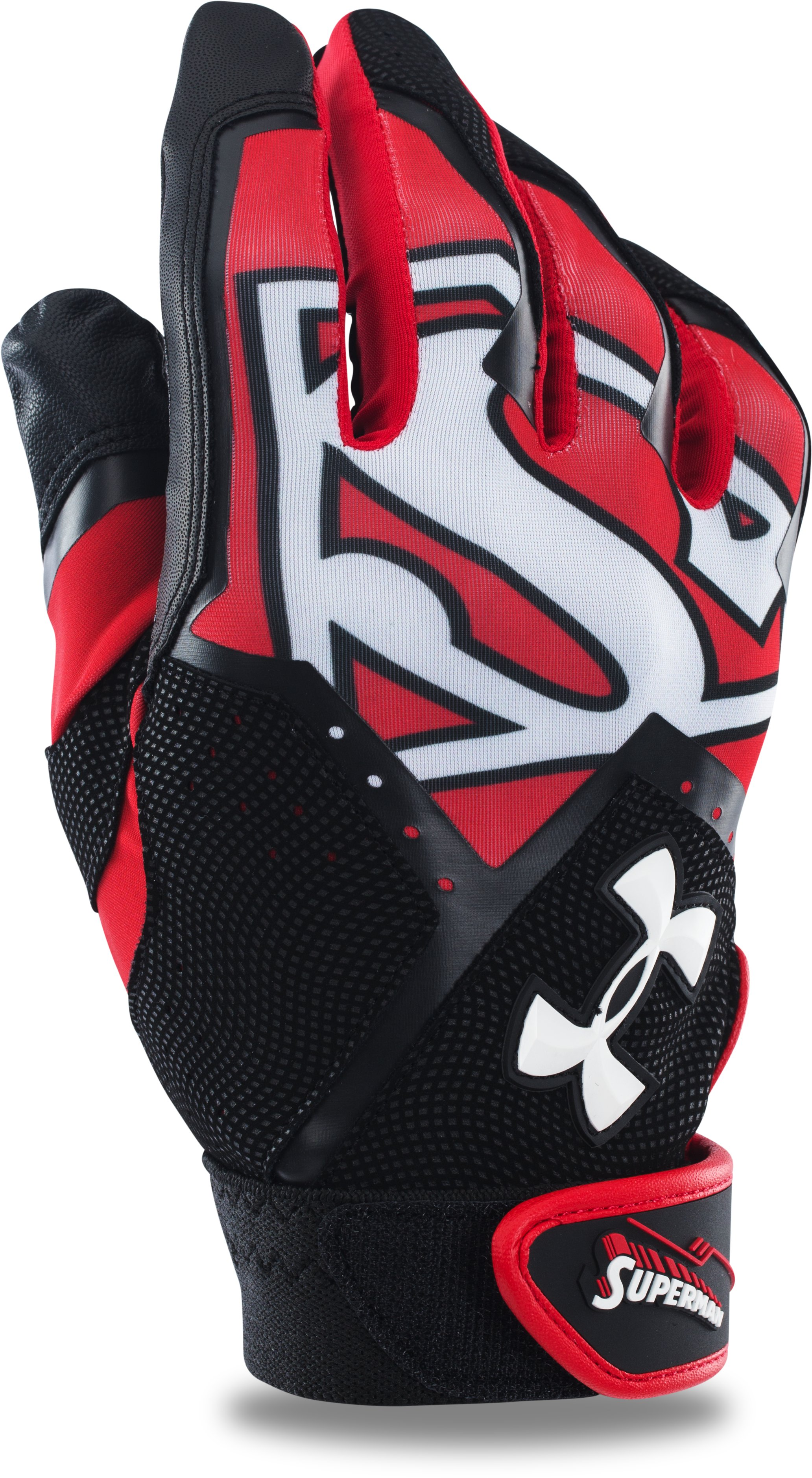 Men's UA Superman Clean-Up Batting Gloves, Red, undefined