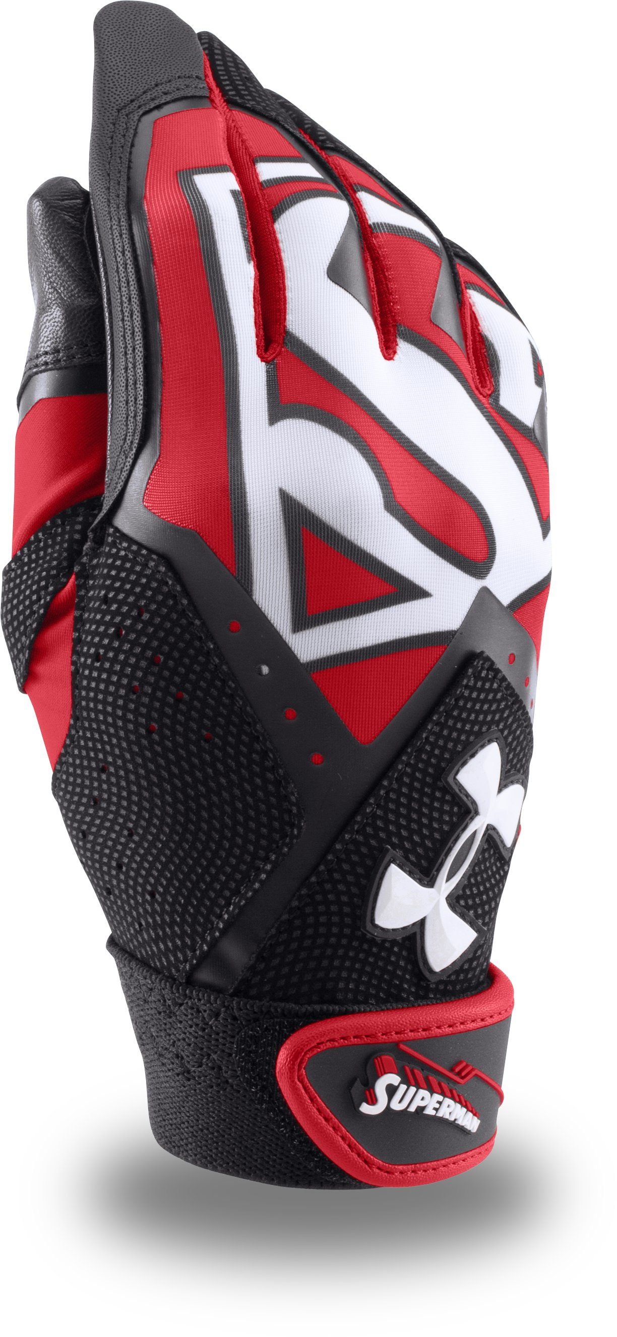 Boys' Under Armour® Alter Ego Superman Clean-Up Batting Gloves, Red, zoomed image
