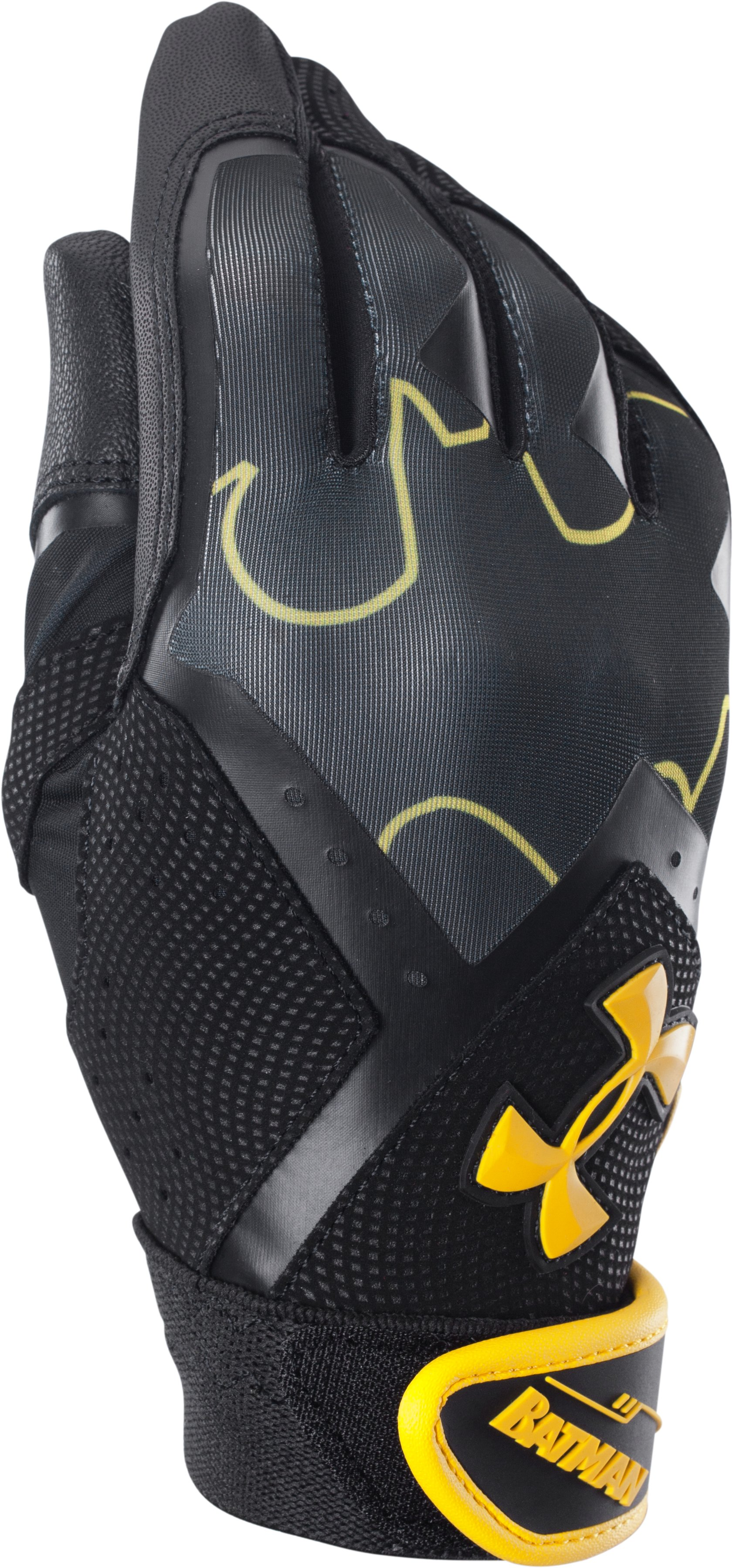 Boys' UA Batman Clean-Up Batting Gloves, Black , zoomed image