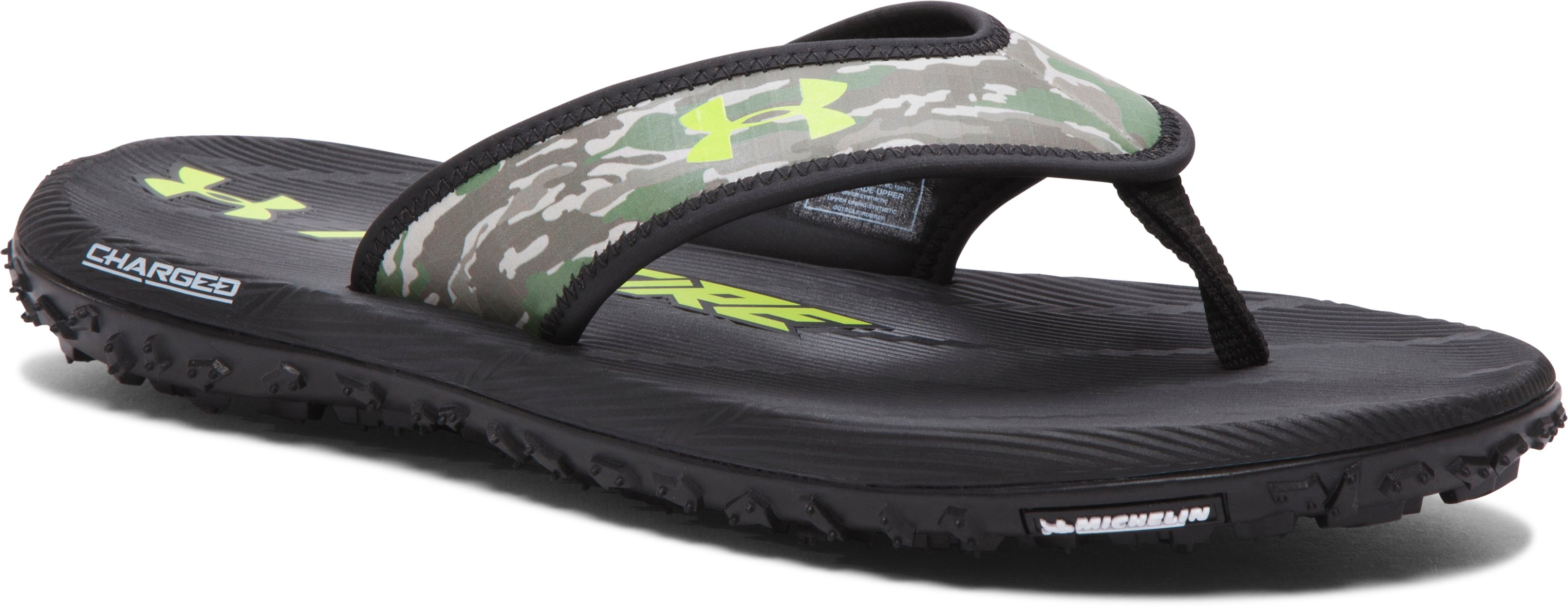 Men's UA Fat Tire Sandals, Black , zoomed image