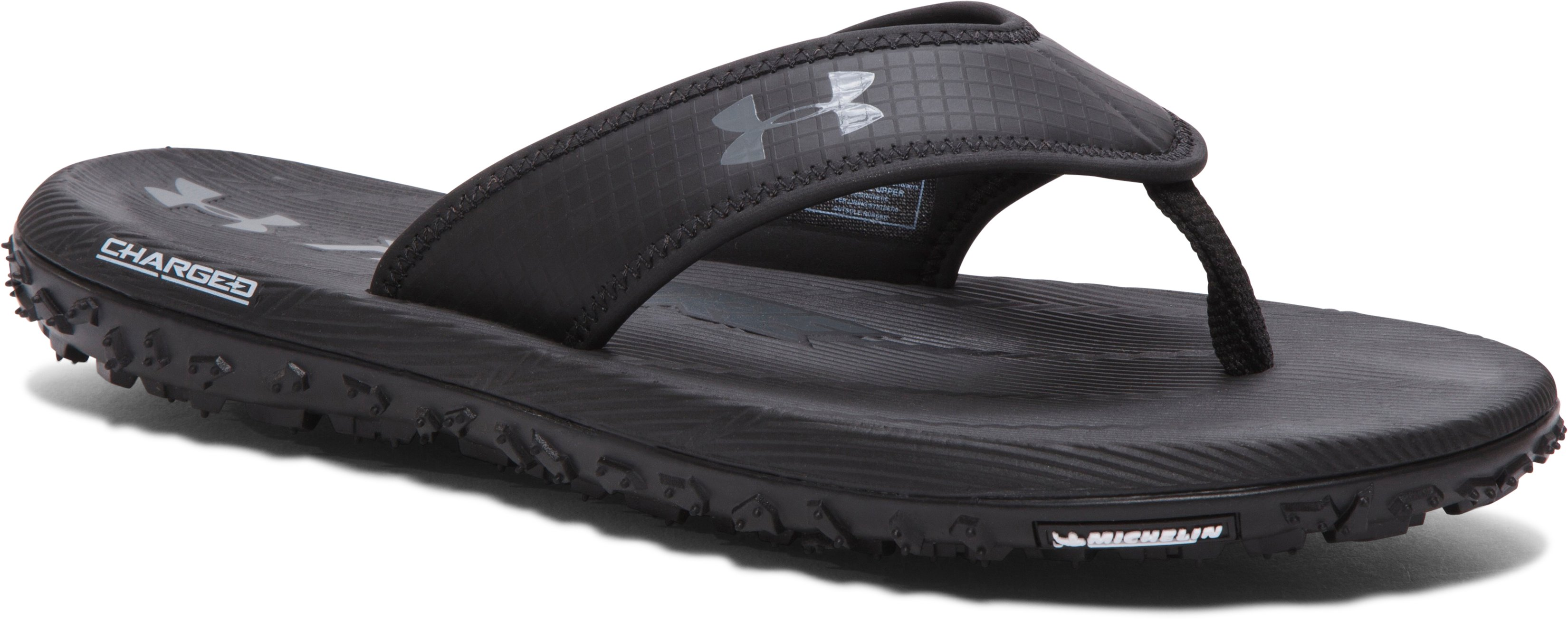 Men's UA Fat Tire Sandals, Black , 360 degree view, click to view full size video