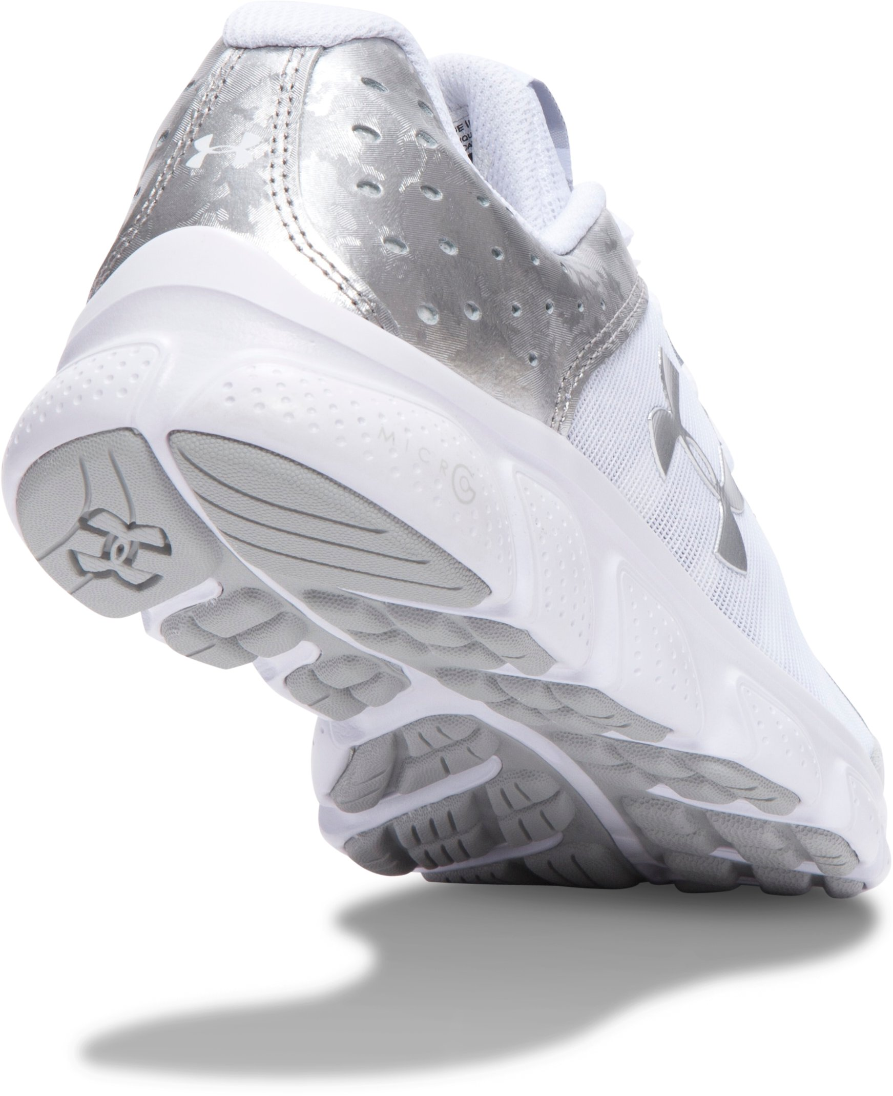 Girls' Grade School UA Micro G® Assert 6 Running Shoes, White, undefined
