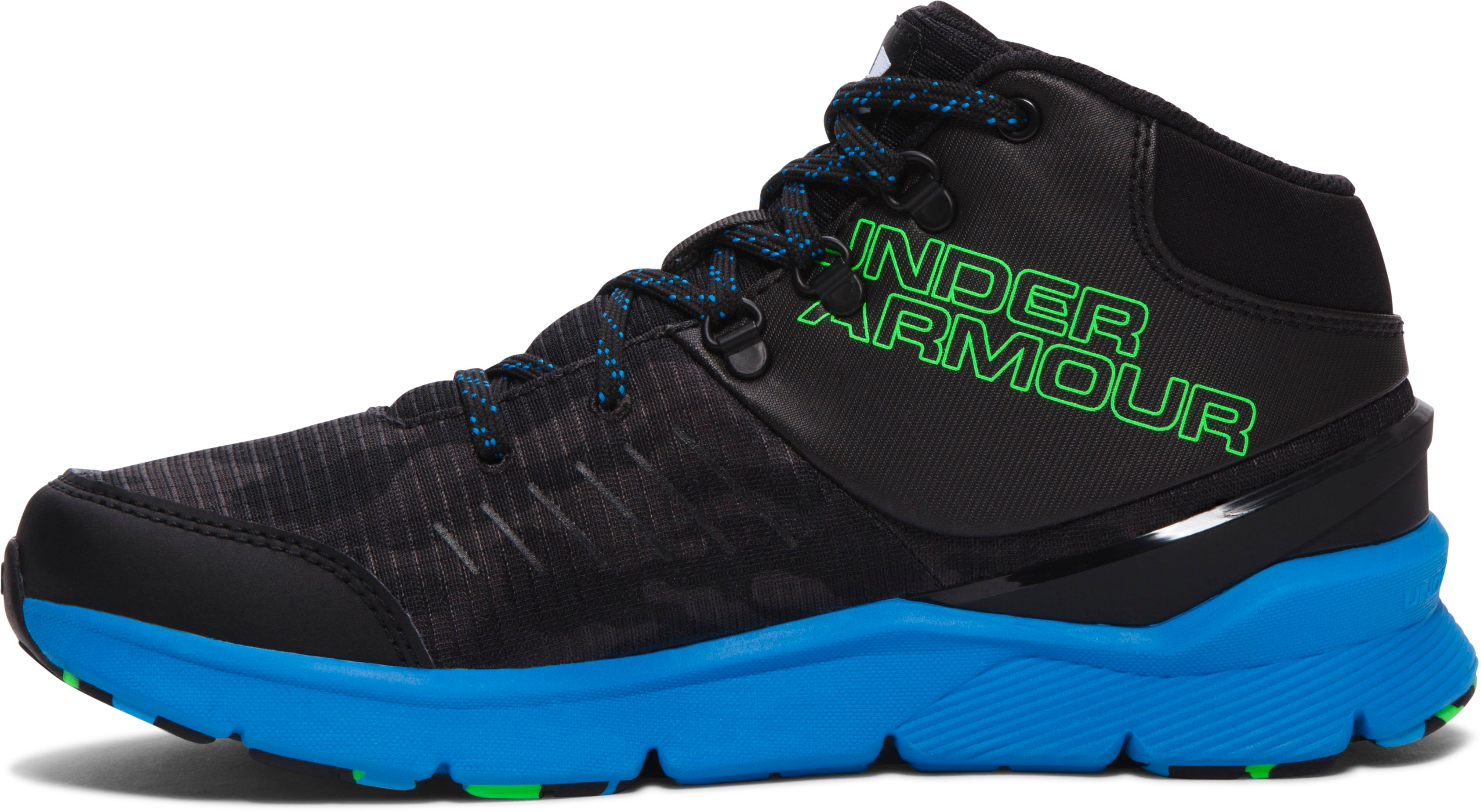 Boys' Grade School UA Overdrive Mid Grit Running Shoes, Black ,