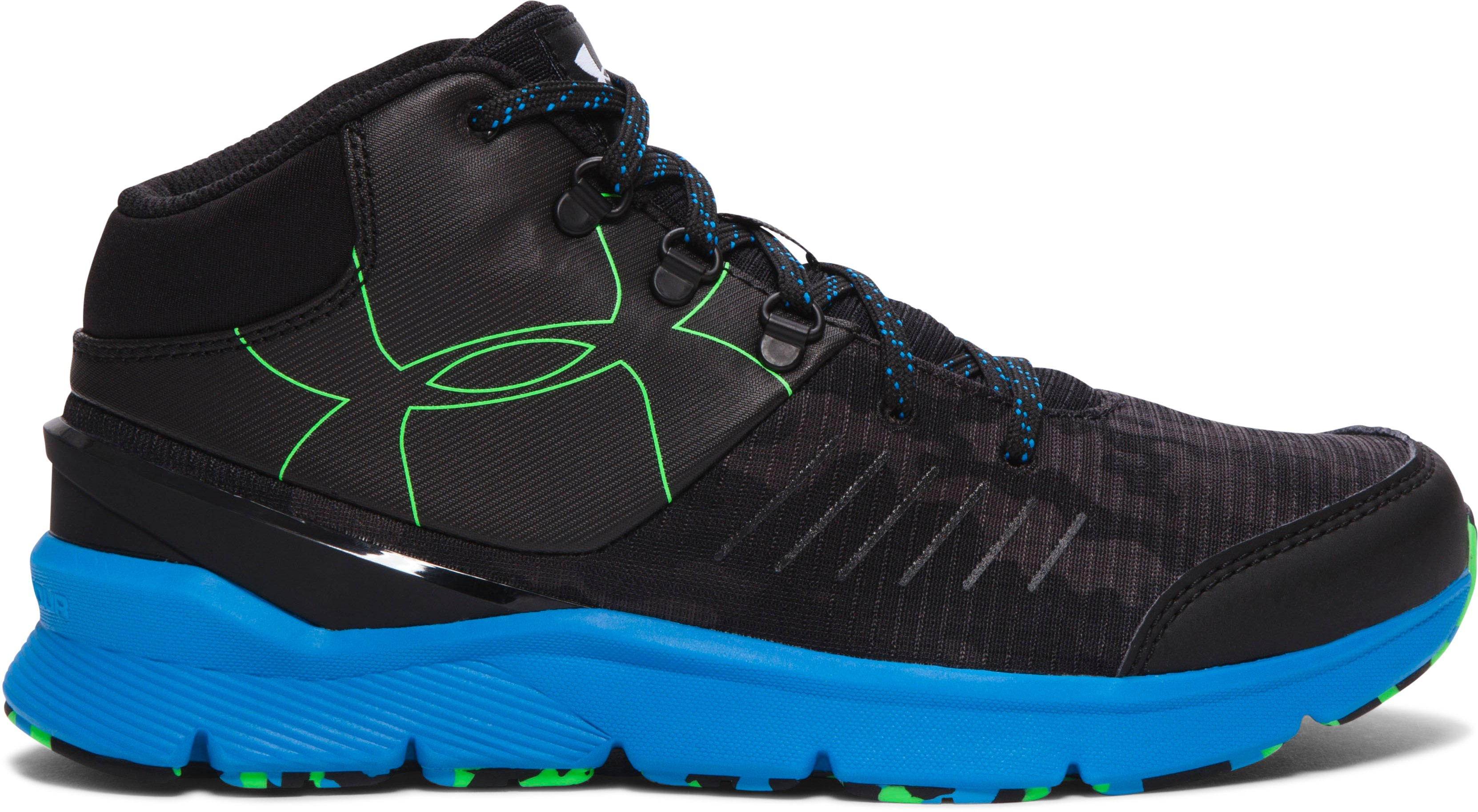 Boys' Grade School UA Overdrive Mid Grit Running Shoes, Black
