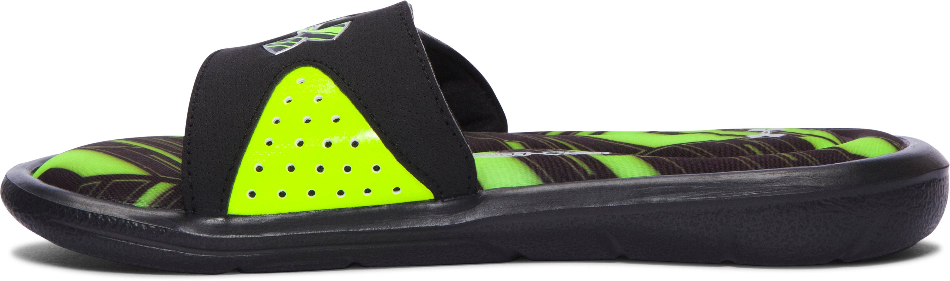Boys' UA Ignite Banshee II Slides, Black ,