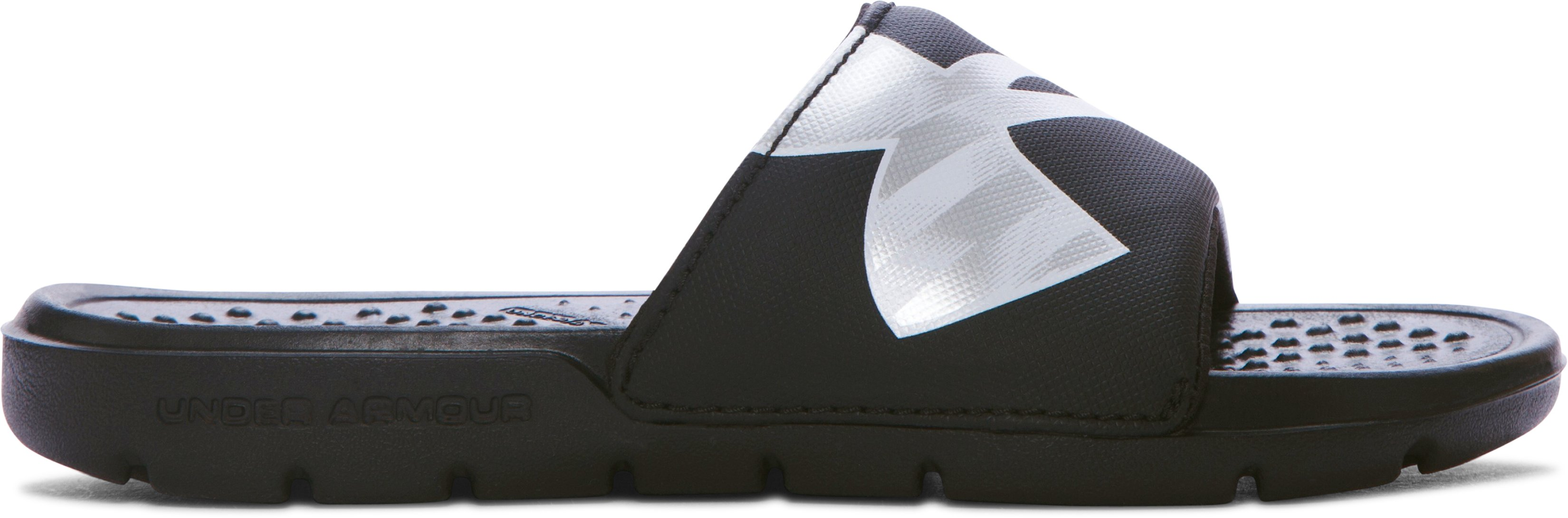 Boys' UA Strike Reflective Slides, Black ,