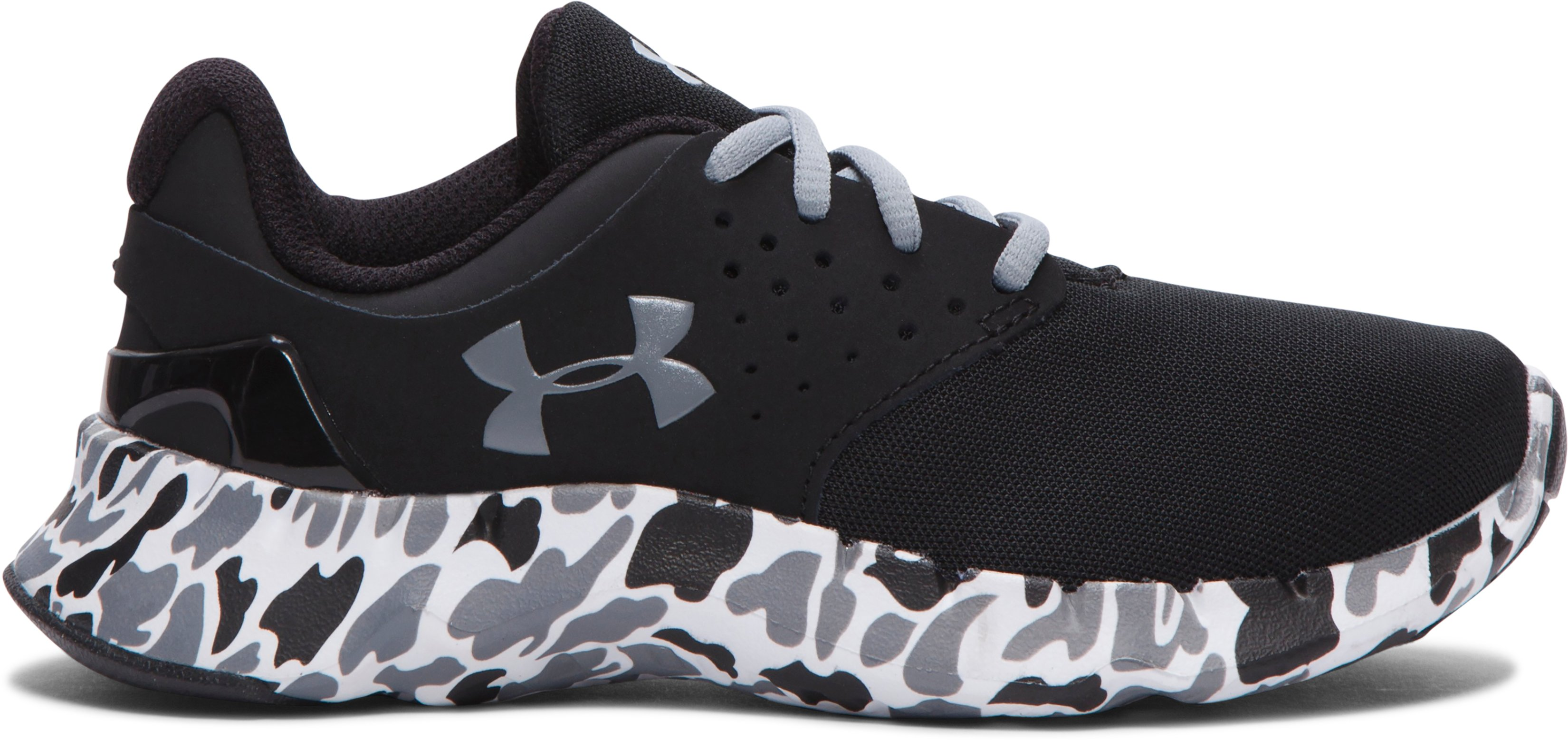 Boys' Pre-School UA Flow Camo Running Shoes, Black , undefined