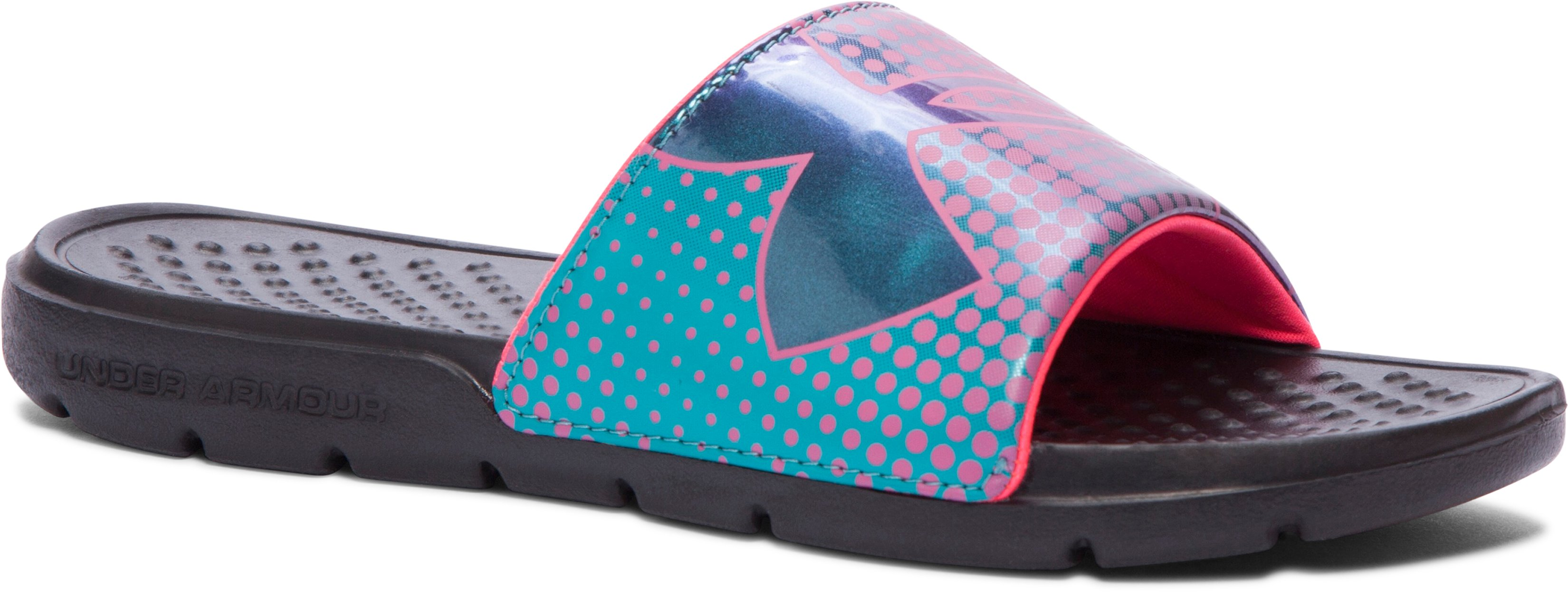 Girls' UA Strike Ombre Slides, Black , undefined