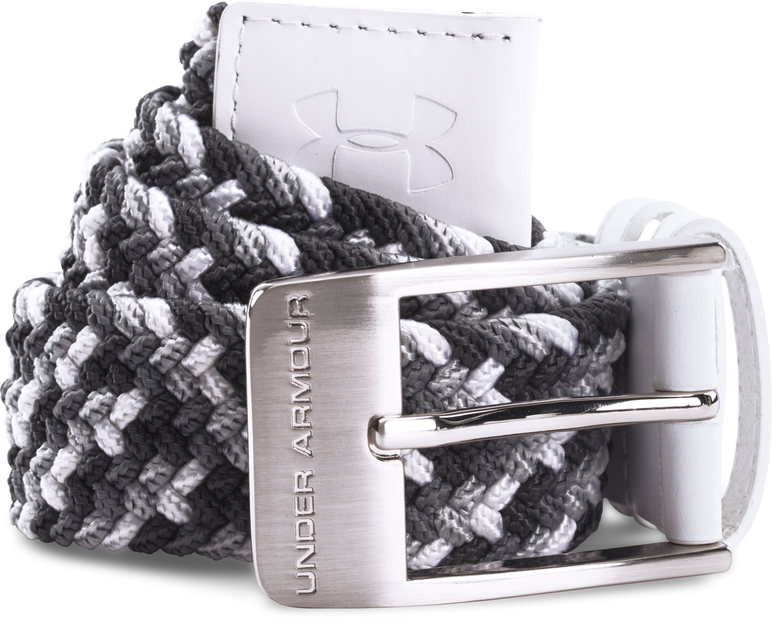 Men's UA Braided Belt, White, zoomed image