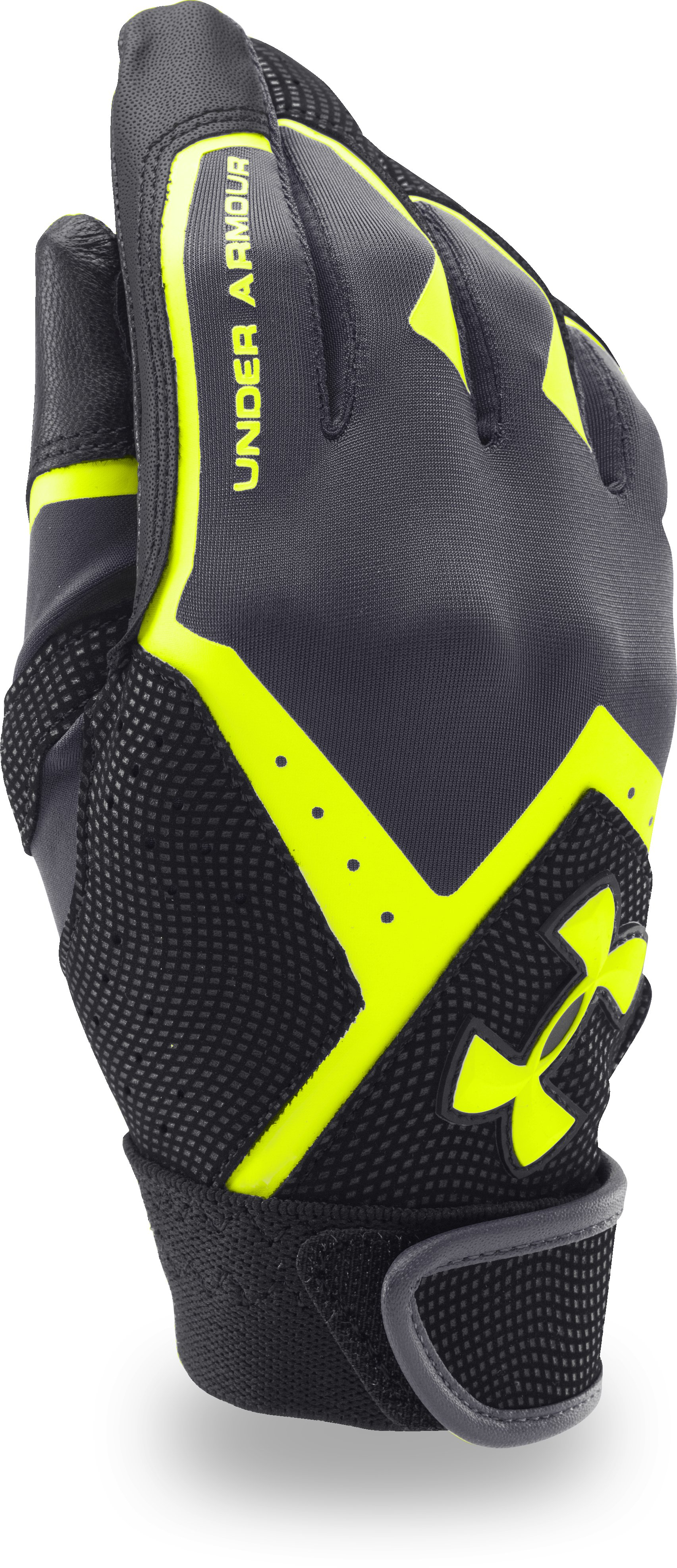 Boys' UA Clean-Up VI Batting Gloves, STEALTH GRAY