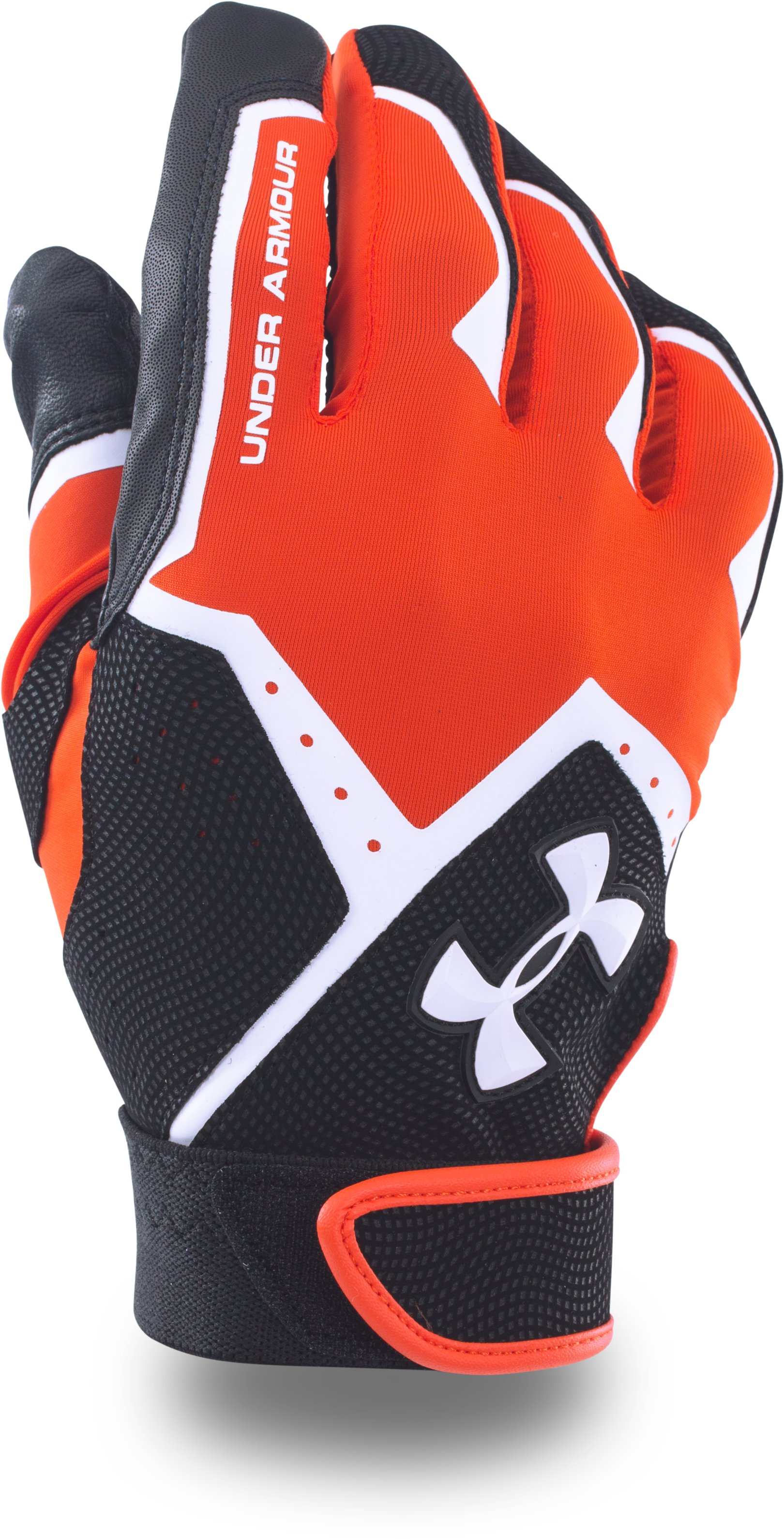 Boys' UA Clean-Up VI Batting Gloves, Dark Orange