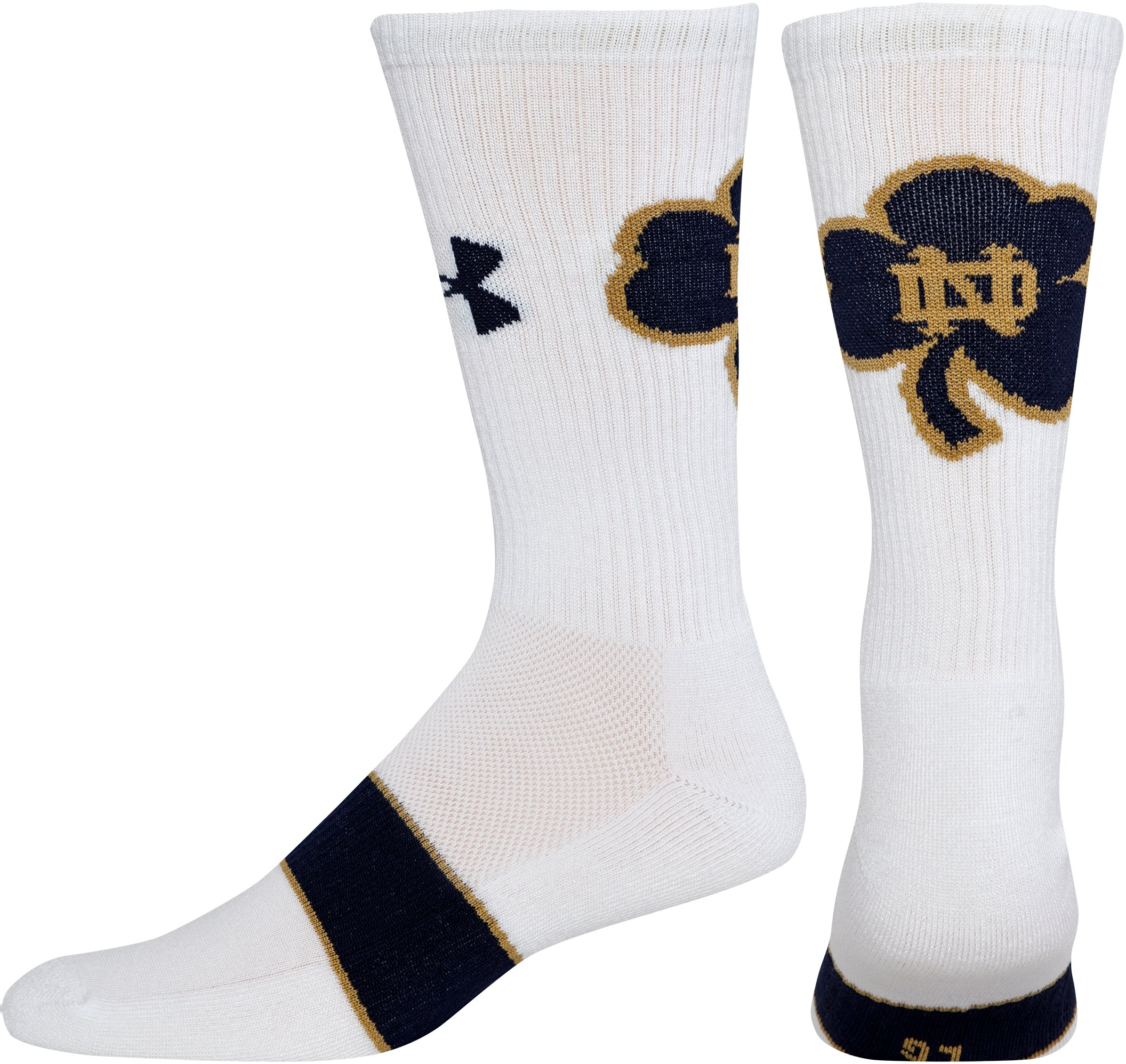 Men's Notre Dame UA Crew Socks, White, undefined