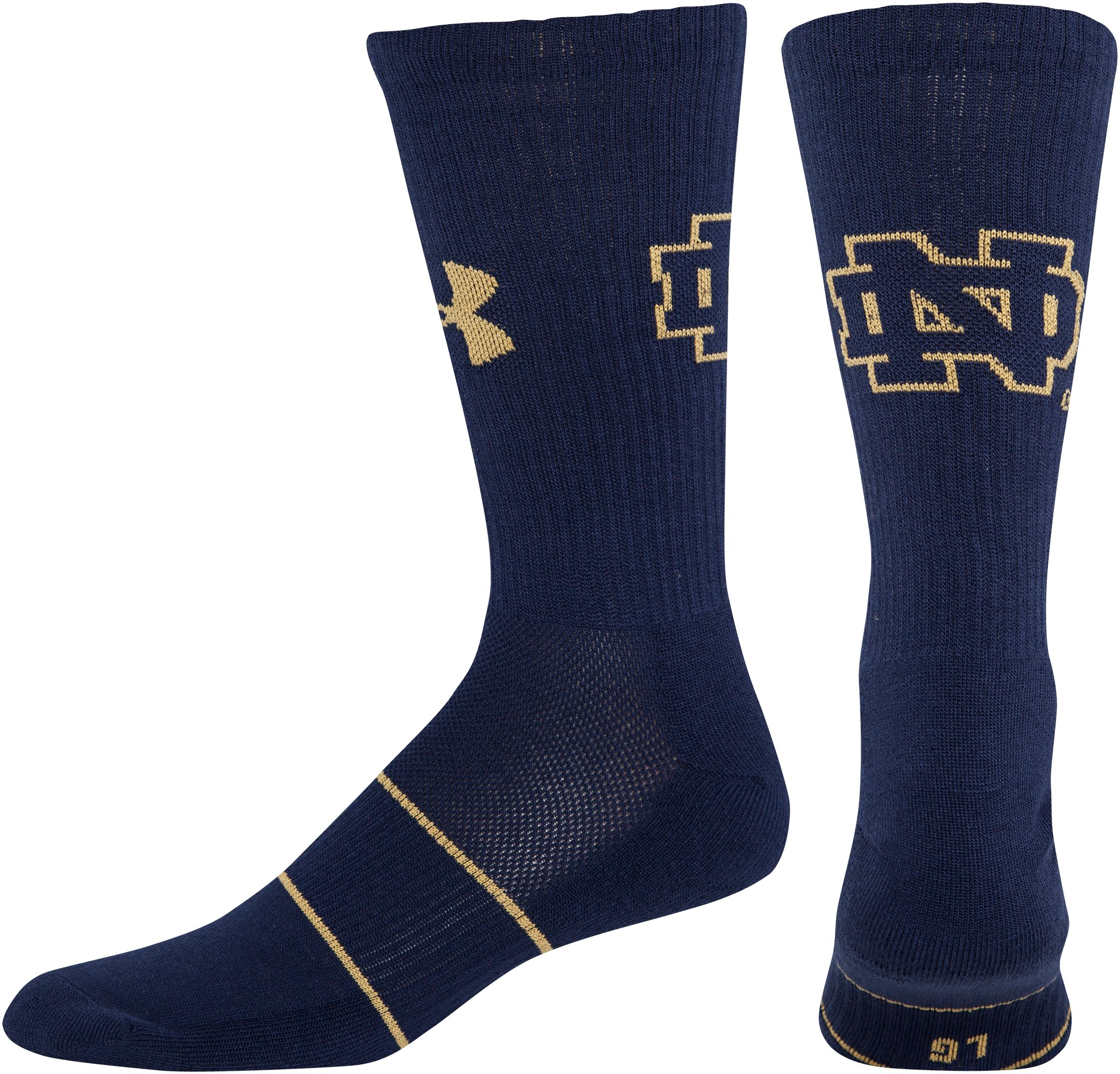 Kids' Notre Dame UA Crew Socks, Midnight Navy, zoomed image