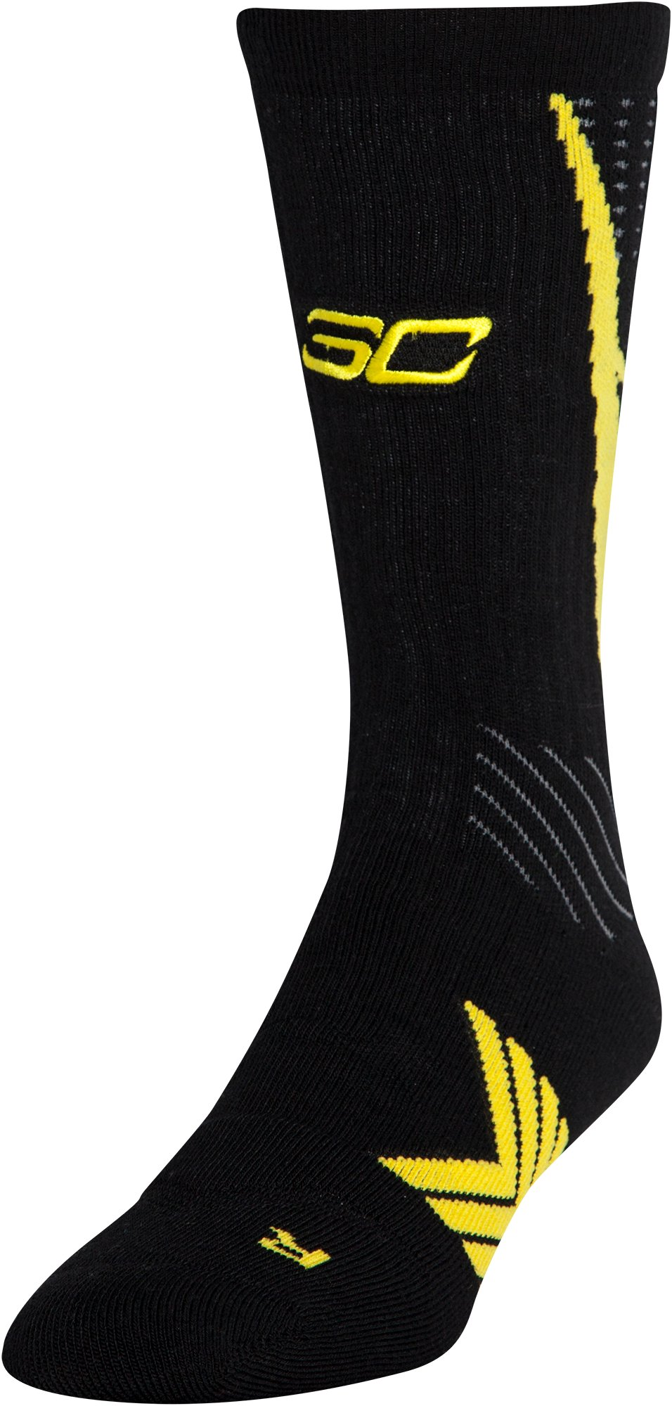 Men's UA Undeniable Crew Socks – Curry One Edition, Black , zoomed image