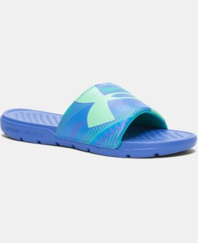 Girls' UA Strike Geo Slides LIMITED TIME: FREE SHIPPING 1 Color $14.24