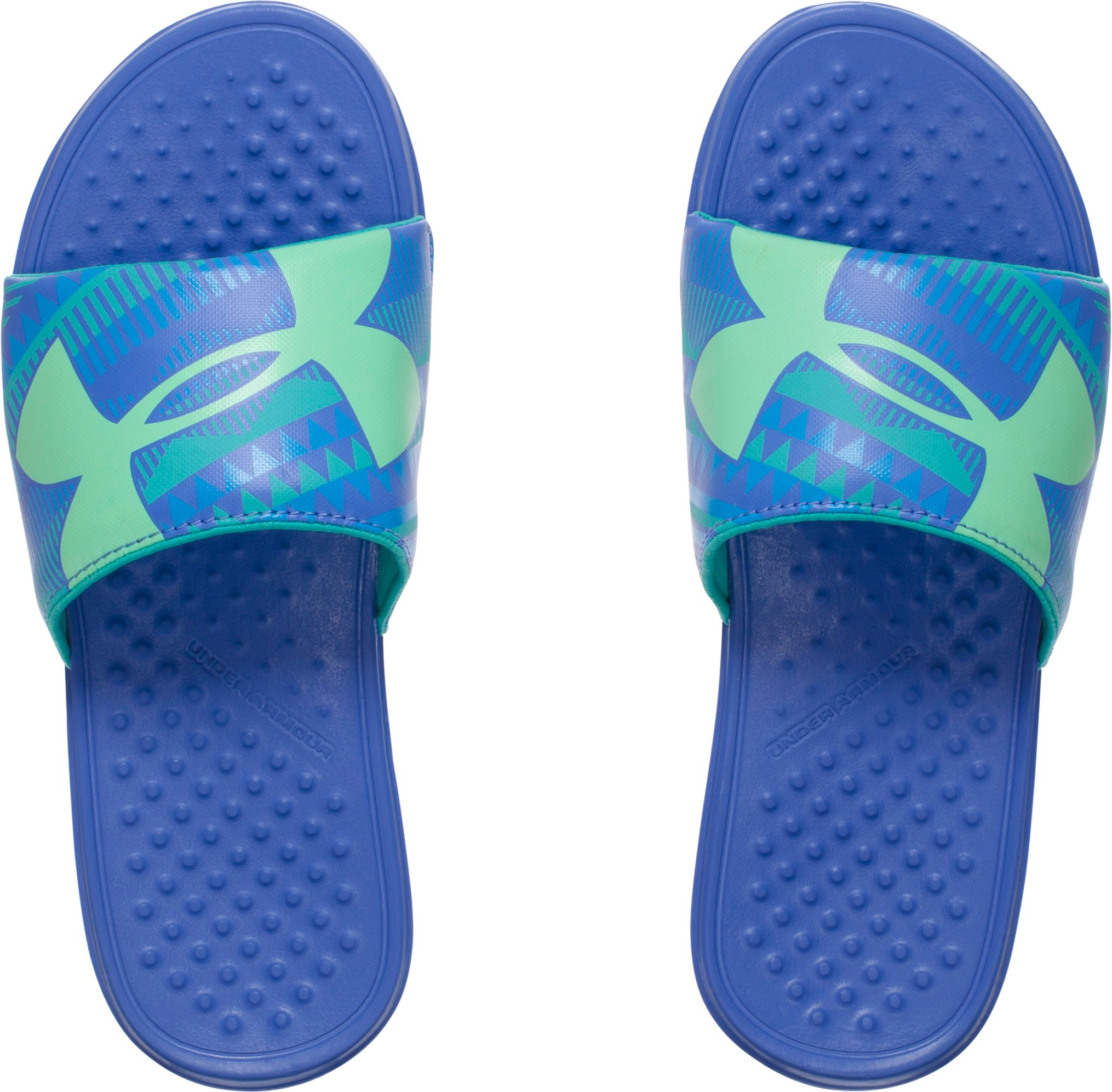 Girls' UA Strike Geo Slides, Mirror, undefined